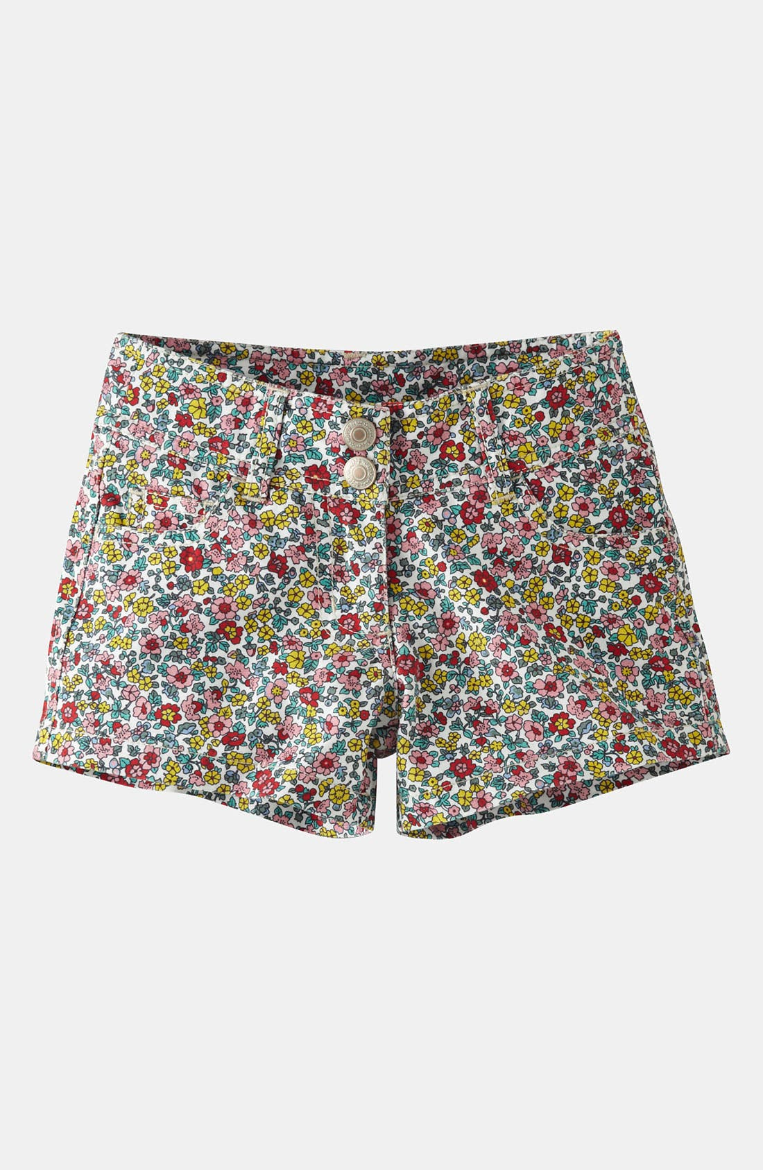 Alternate Image 1 Selected - Mini Boden 'Heart Pocket' Denim Shorts (Little Girls & Big Girls)