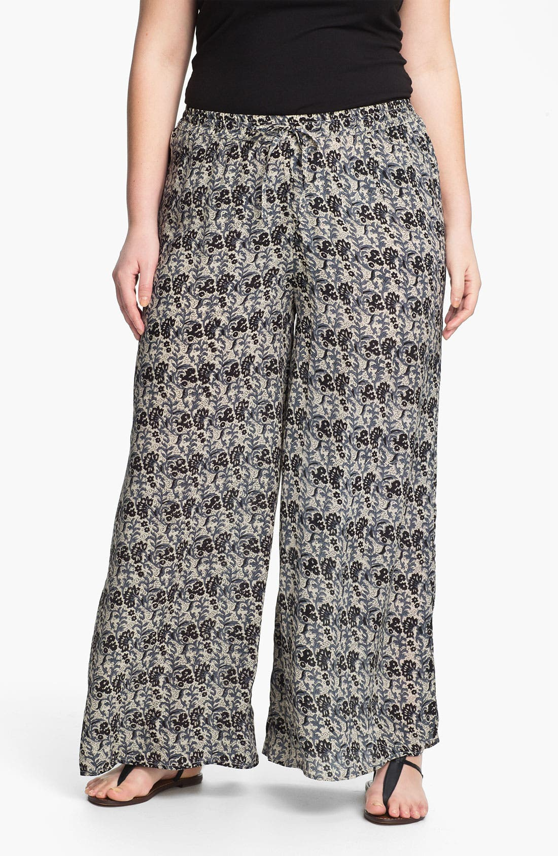 Main Image - Tolani Silk Palazzo Pants (Plus Size) (Online Only)