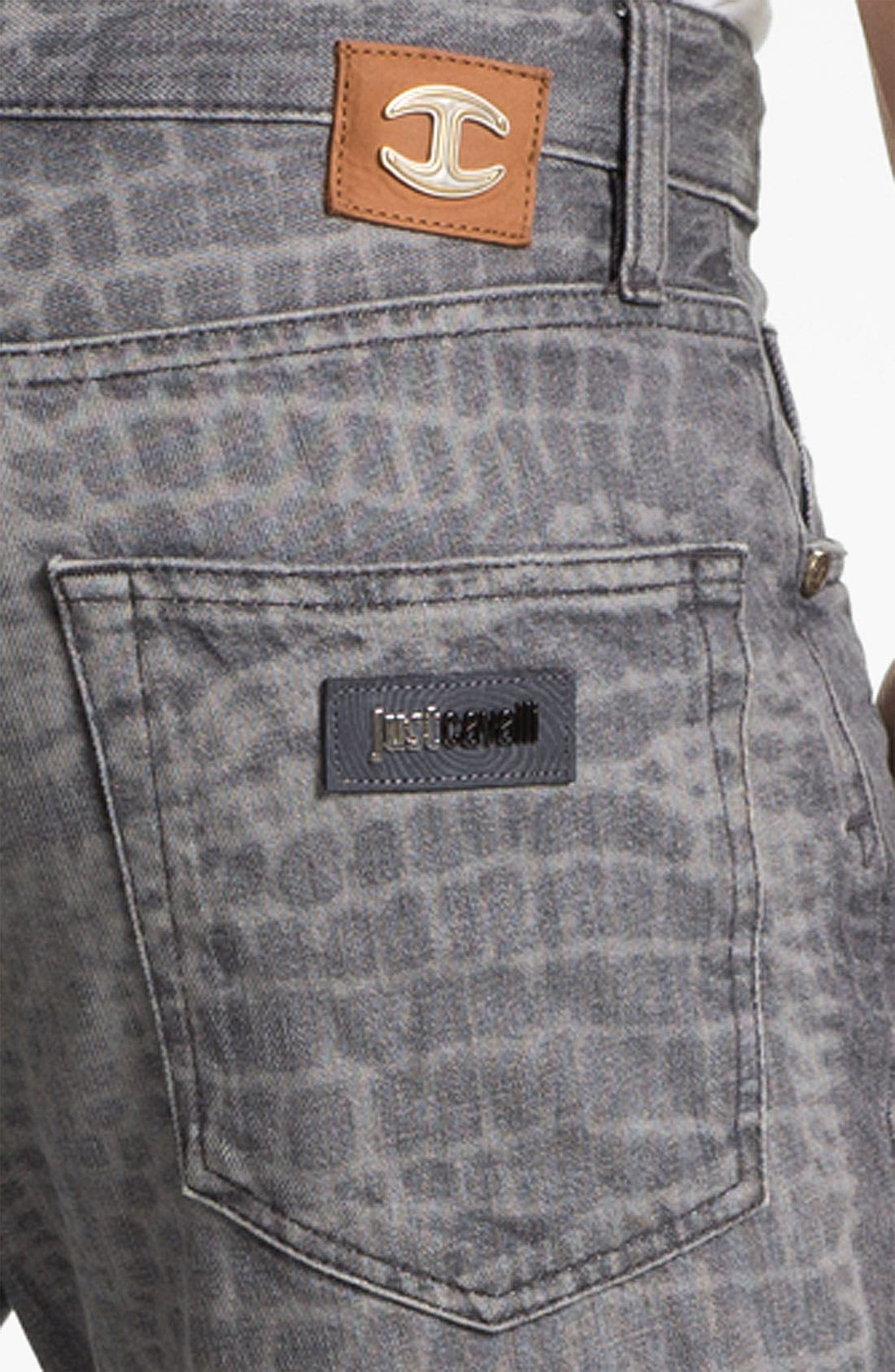 Alternate Image 4  - Just Cavalli Print Slim Straight Leg Jeans (Grey)
