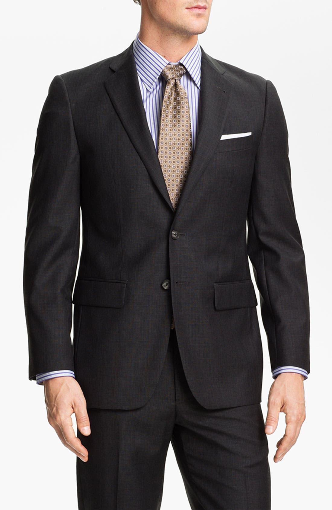 Main Image - Joseph Abboud Charcoal Plaid Wool Suit