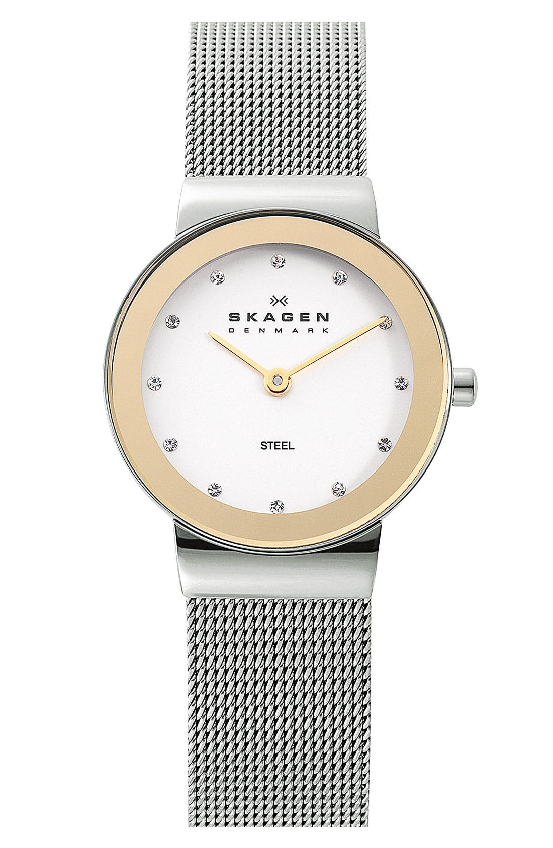 Main Image - Skagen Round Case Mesh Strap Watch, 26mm