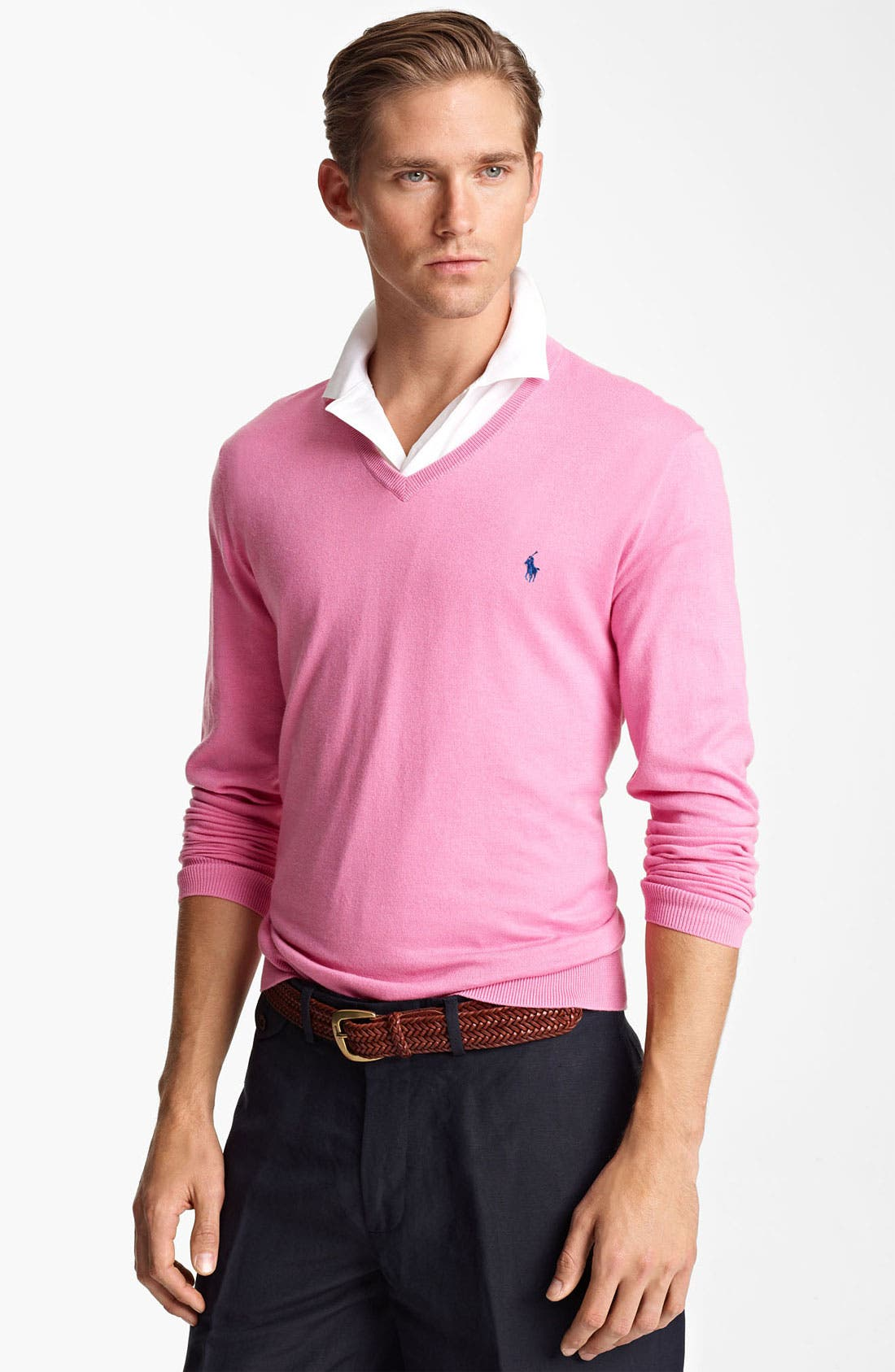 Alternate Image 1 Selected - Polo Ralph Lauren Cotton & Cashmere V-Neck Sweater