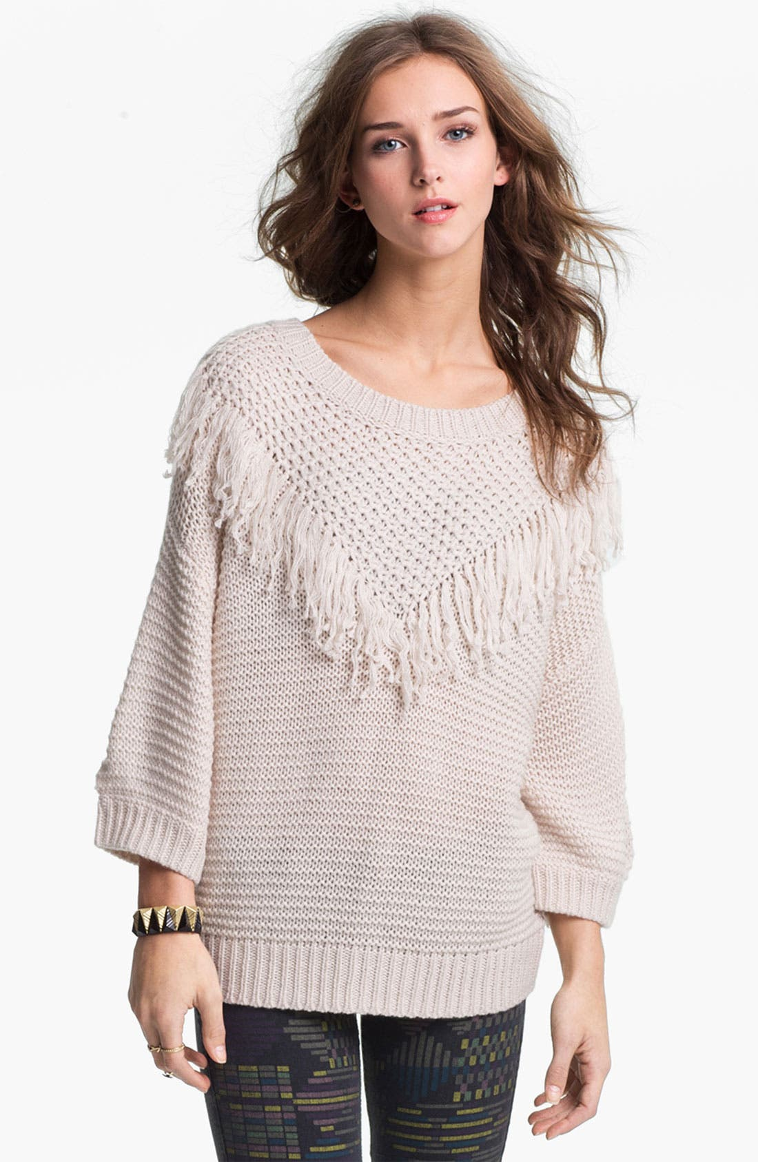 Alternate Image 1 Selected - Rubbish® Fringed Slouchy Sweater (Juniors)