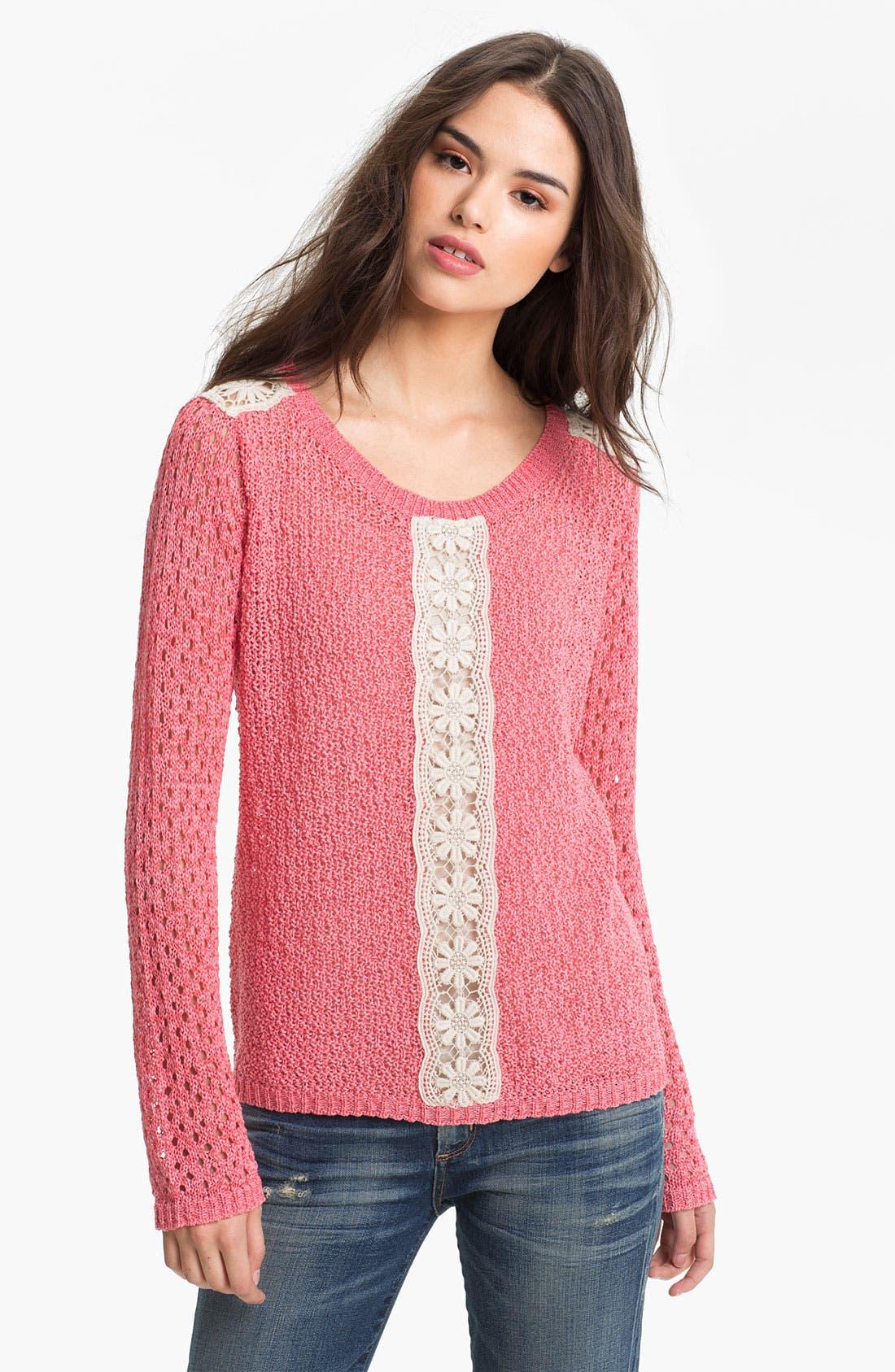 Alternate Image 1 Selected - Hinge® Crochet Trim Sweater
