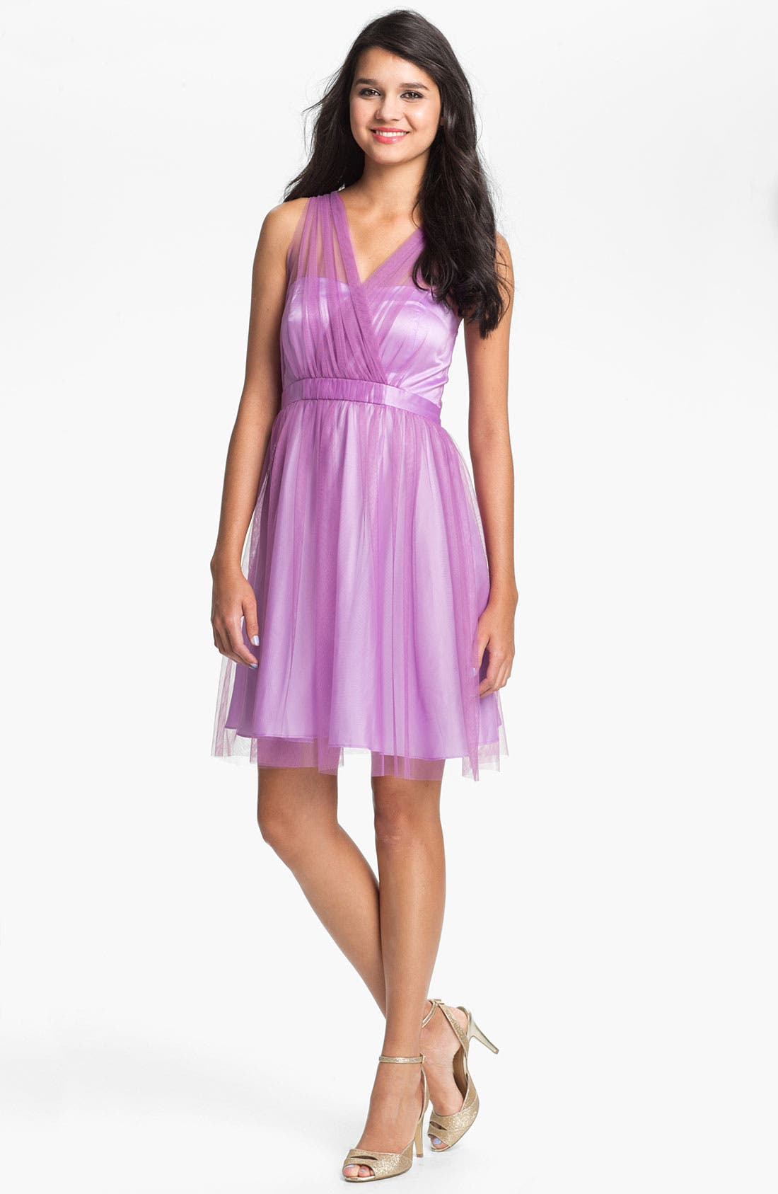 Main Image - Donna Morgan 'Hazel' Surplice Tulle Dress