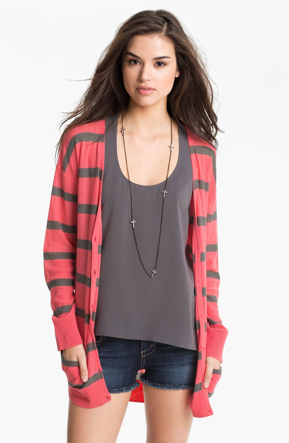 Alternate Image 1 Selected - BP. Stripe Oversized Cardigan (Juniors)