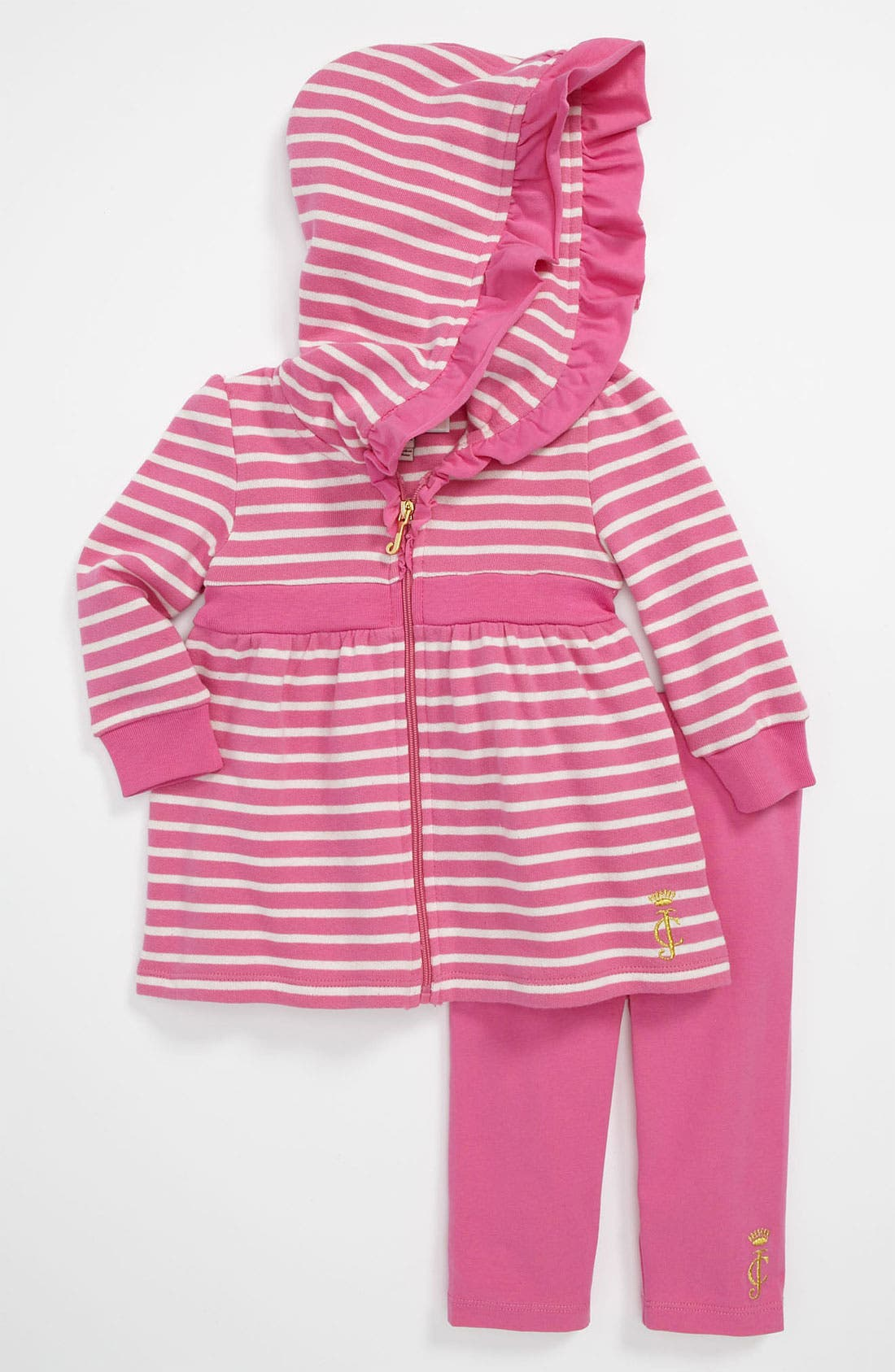 Alternate Image 1 Selected - Juicy Couture Hooded Cardigan & Leggings (Infant)