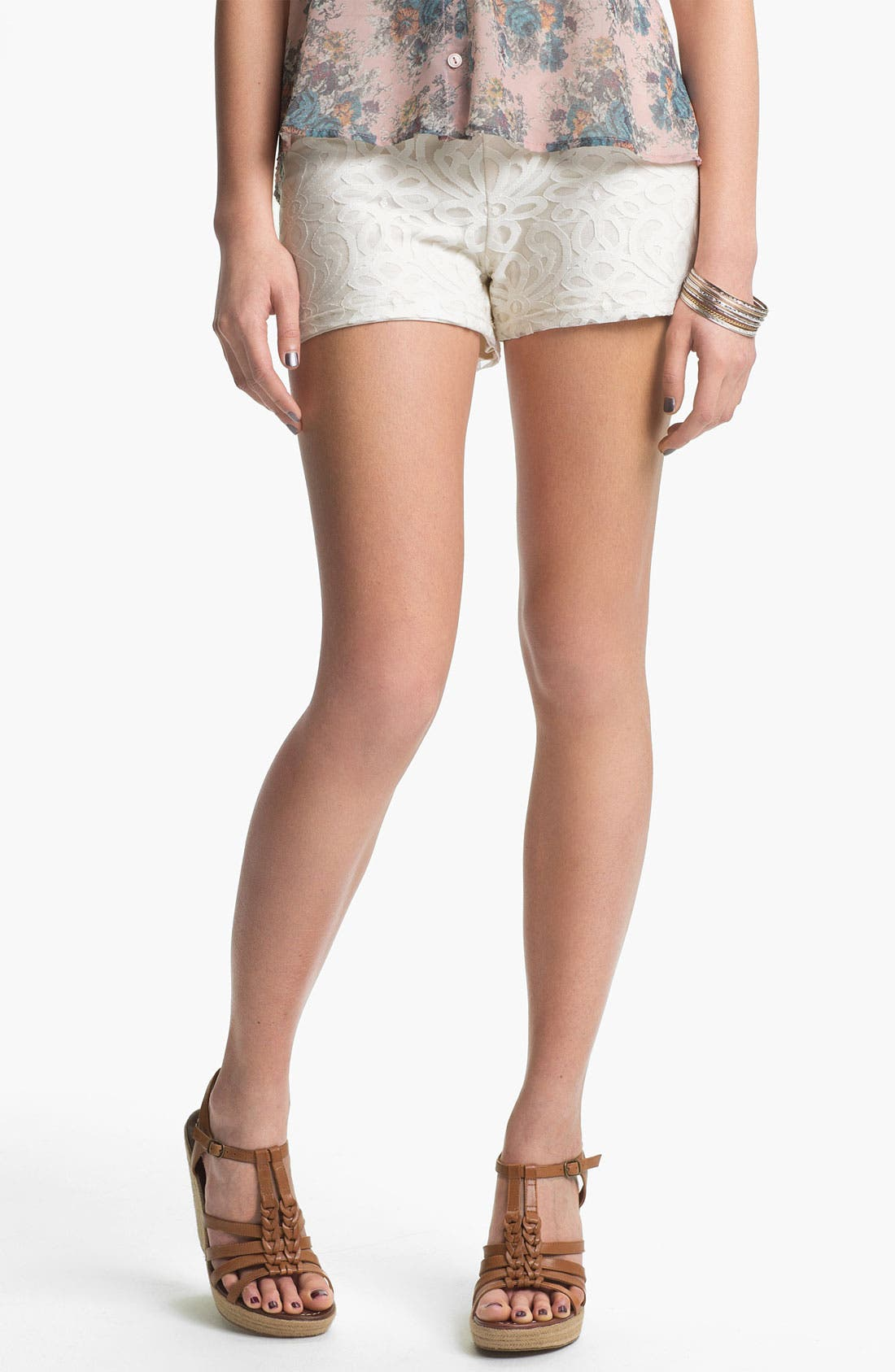 Alternate Image 1 Selected - Mimi Chica Lace Shorts (Juniors)