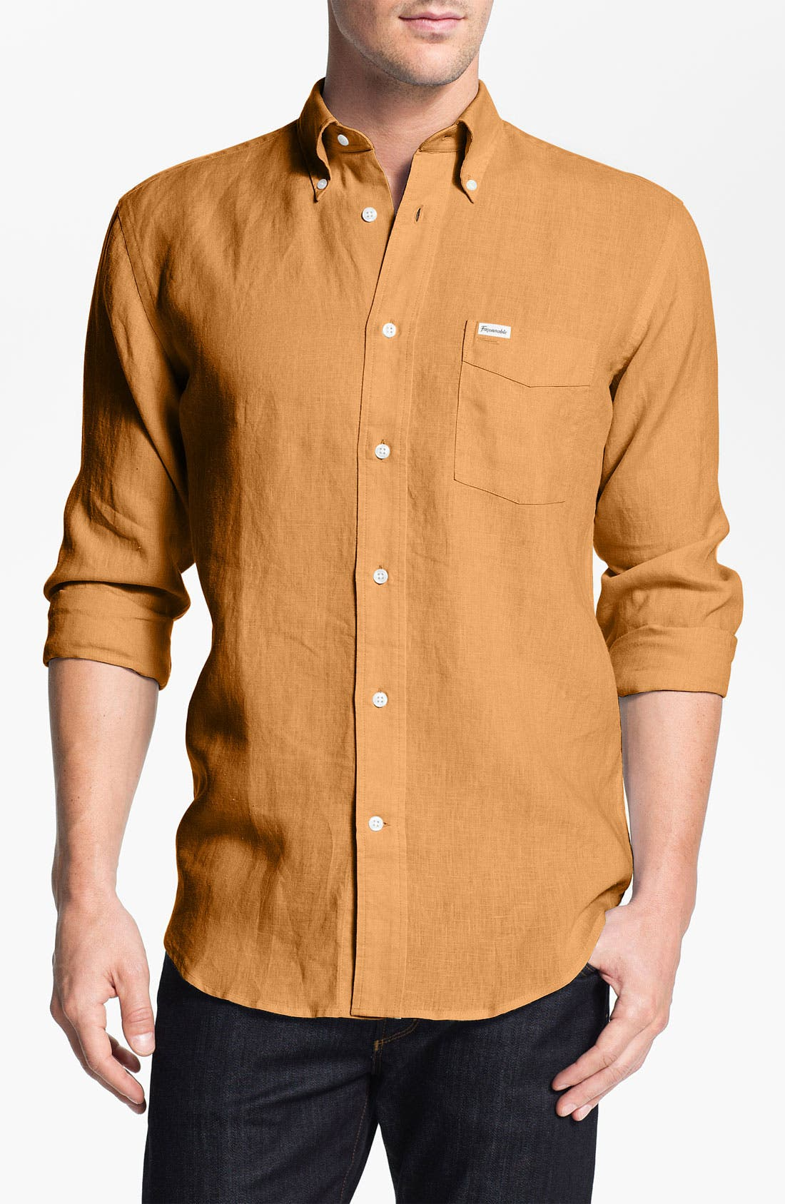 Alternate Image 1 Selected - Façonnable Classique Fit Linen Sport Shirt