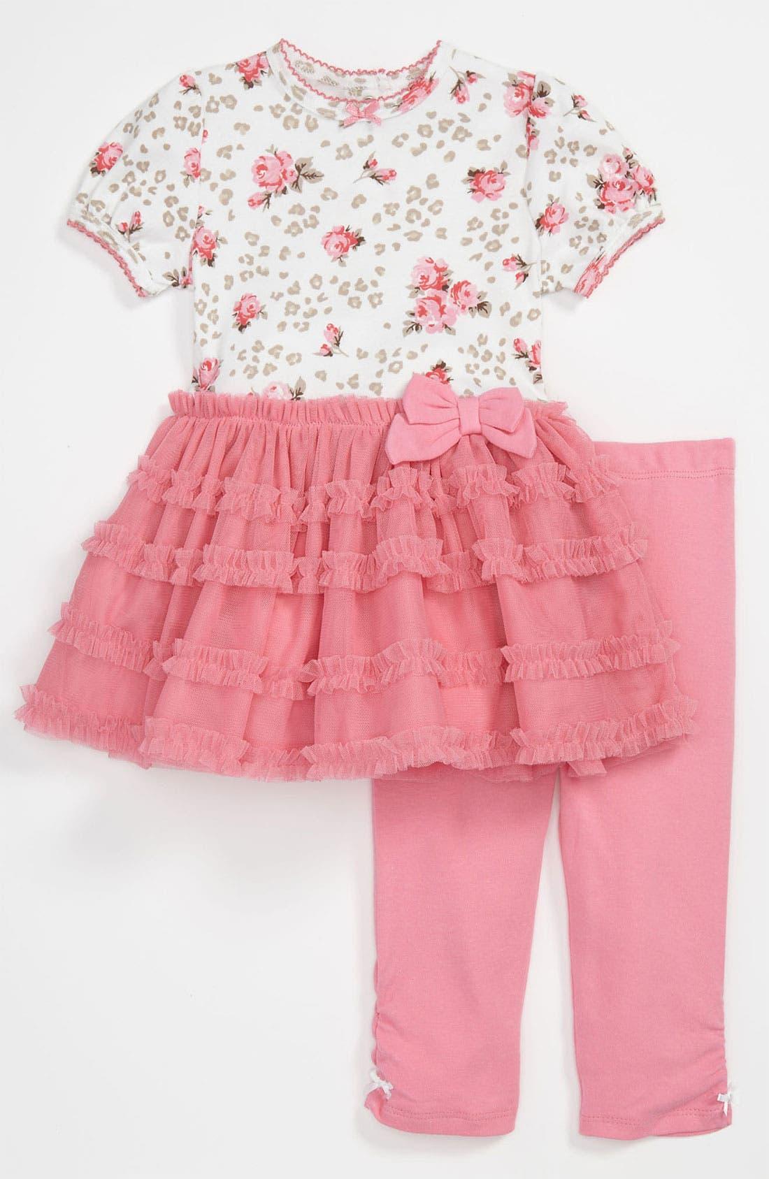 Alternate Image 1 Selected - Little Me 'Leopard Rose' Dress & Leggings (Infant)