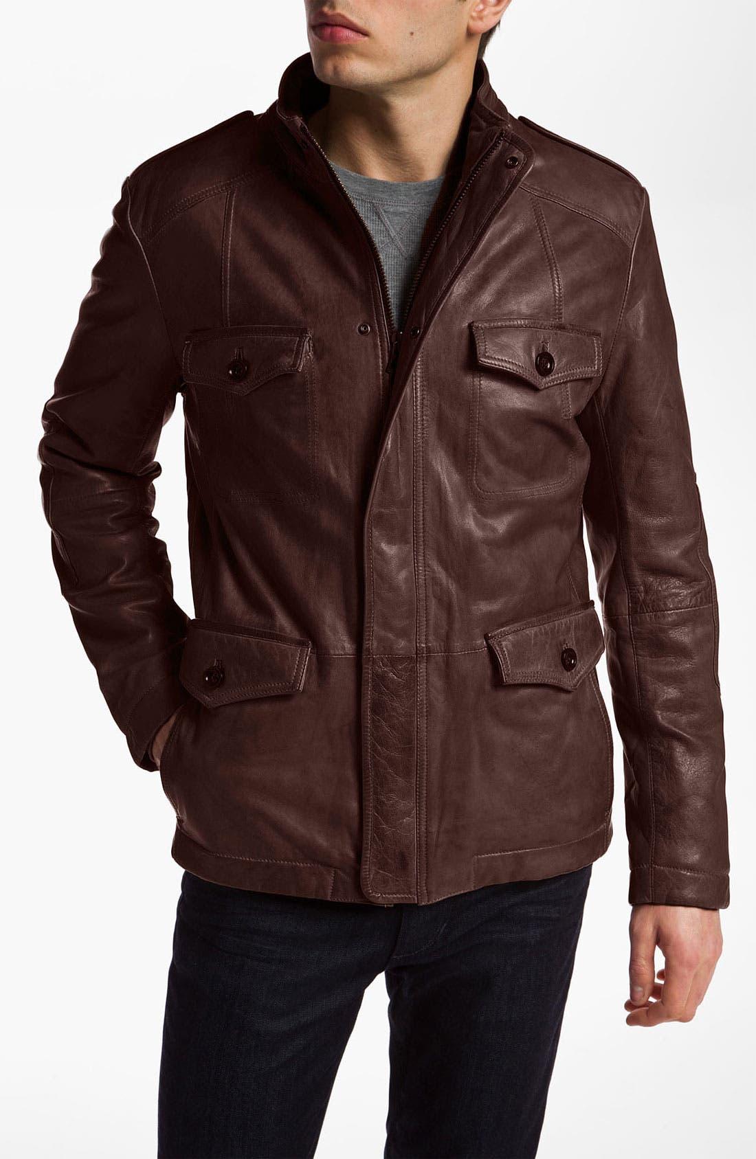 Alternate Image 1 Selected - BOSS Orange 'Jesajo' Leather Jacket