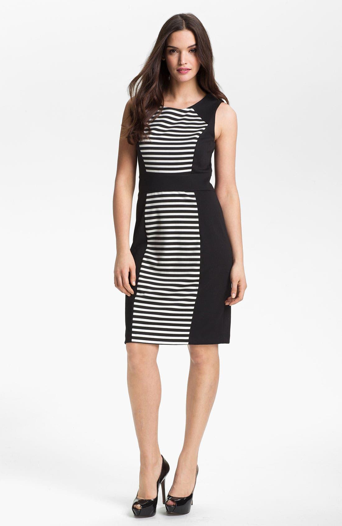Alternate Image 1 Selected - Calvin Klein Sleeveless Stripe Dress