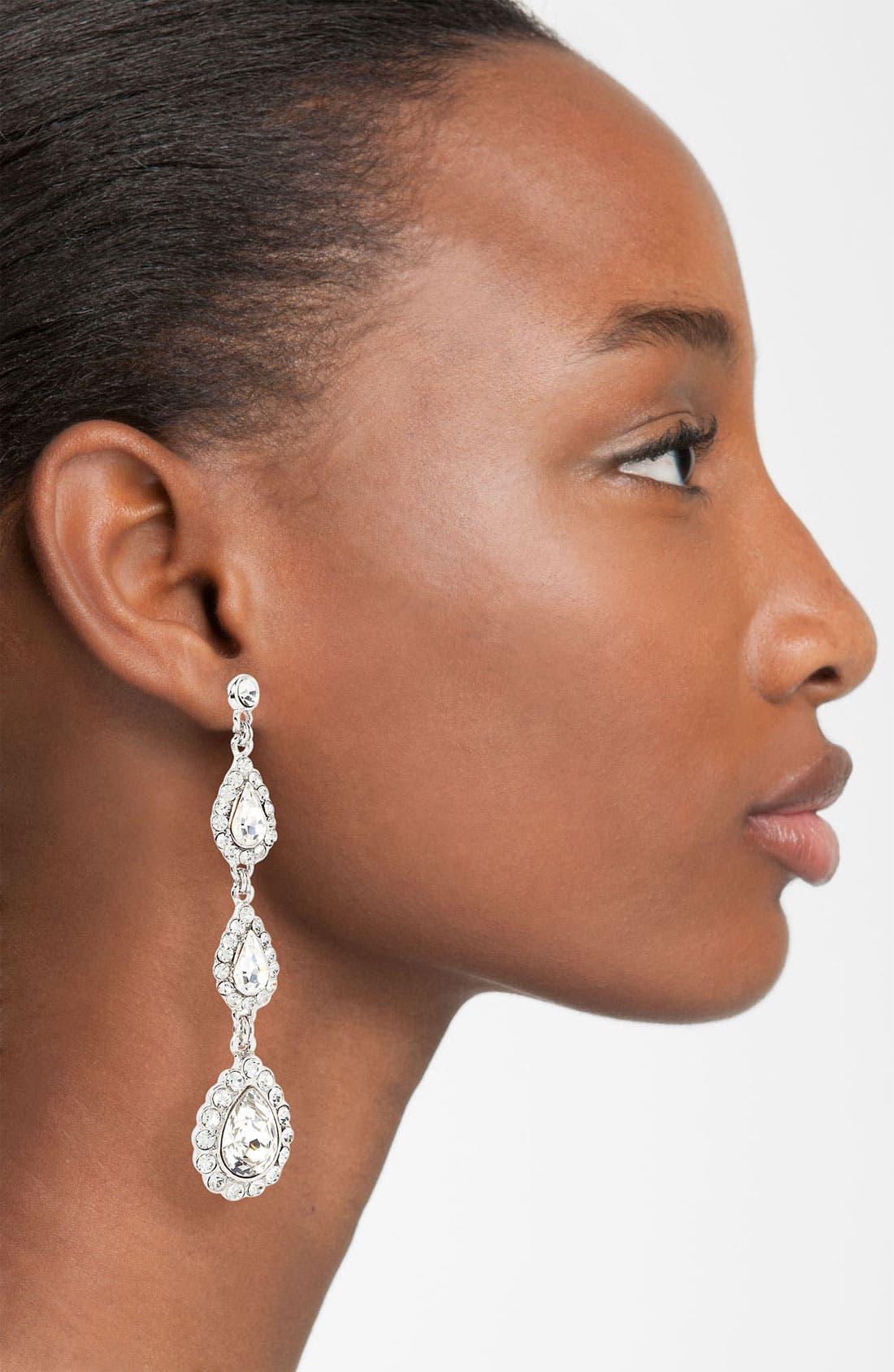 Alternate Image 2  - Nina 'Mallow' Triple Drop Crystal Linear Earrings
