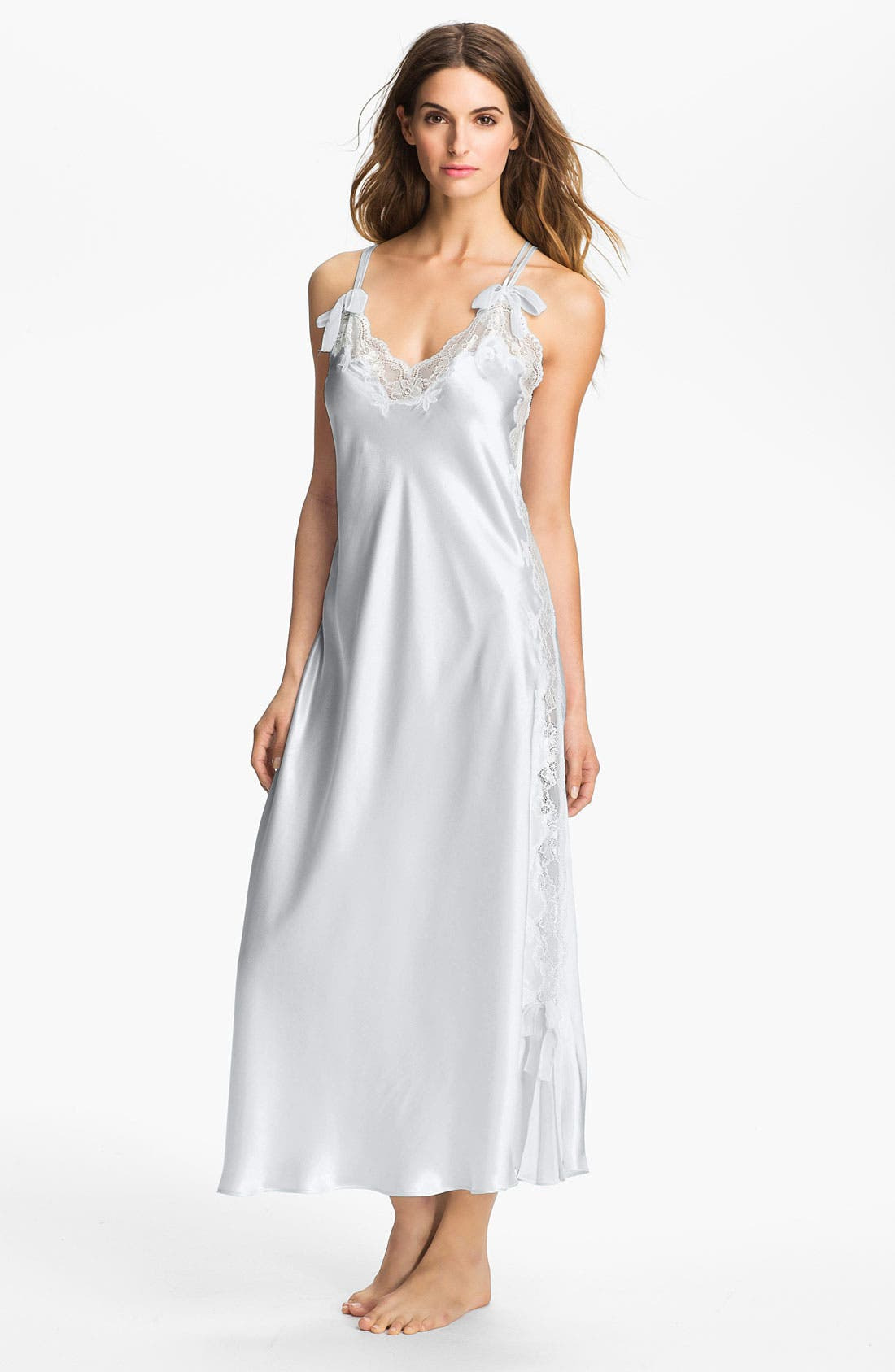 Main Image - Oscar de la Renta Sleepwear 'Lovely in Lace' Charmeuse Nightgown