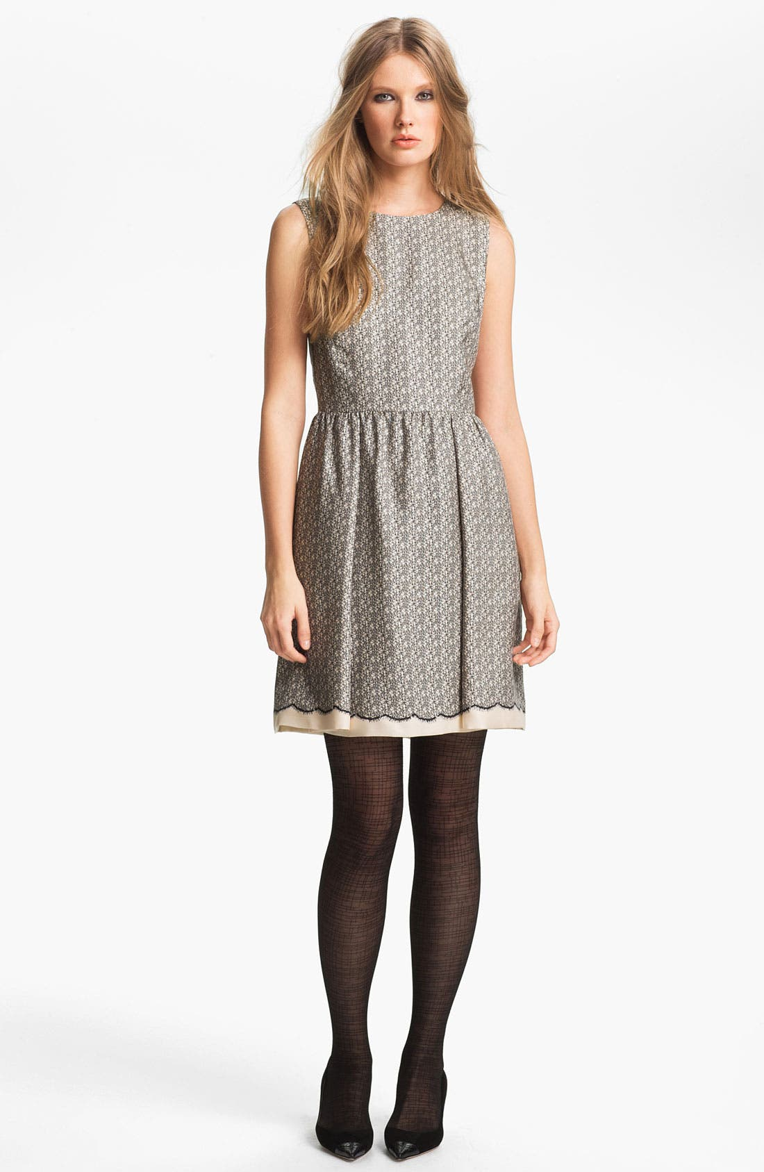 Main Image - Miss Wu Lace Print Silk Twill Dress (Nordstrom Exclusive)