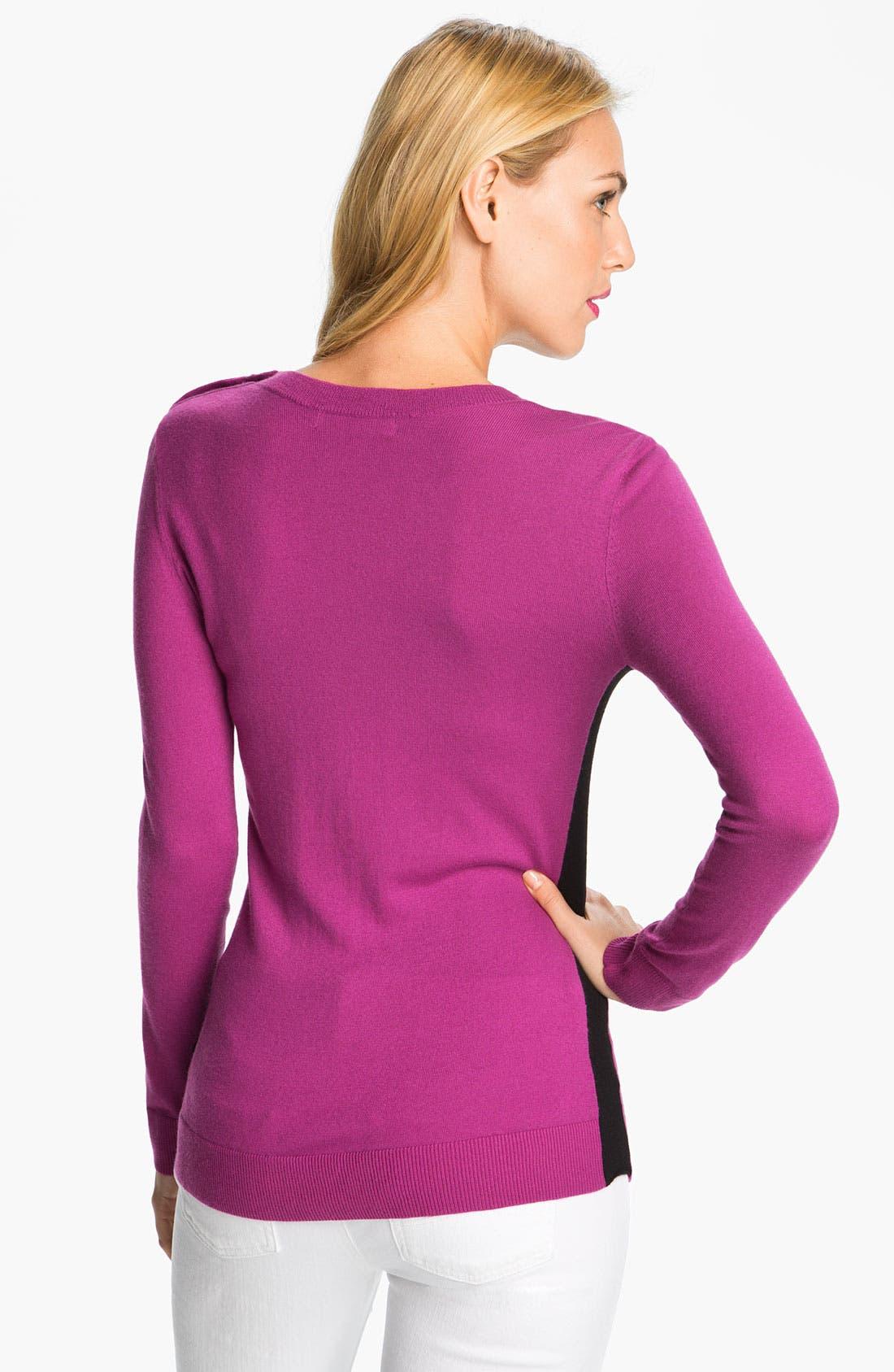 Alternate Image 2  - MICHAEL Michael Kors Colorblock Crewneck Sweater (Petite)
