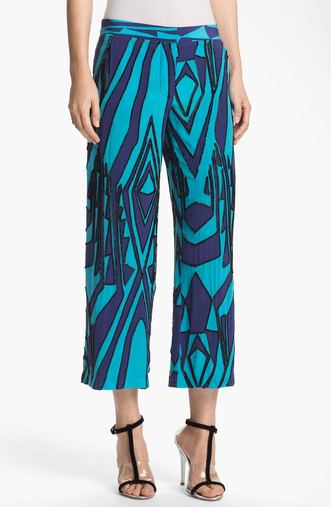 Main Image - Tracy Reese Beaded Print Silk Crop Pants