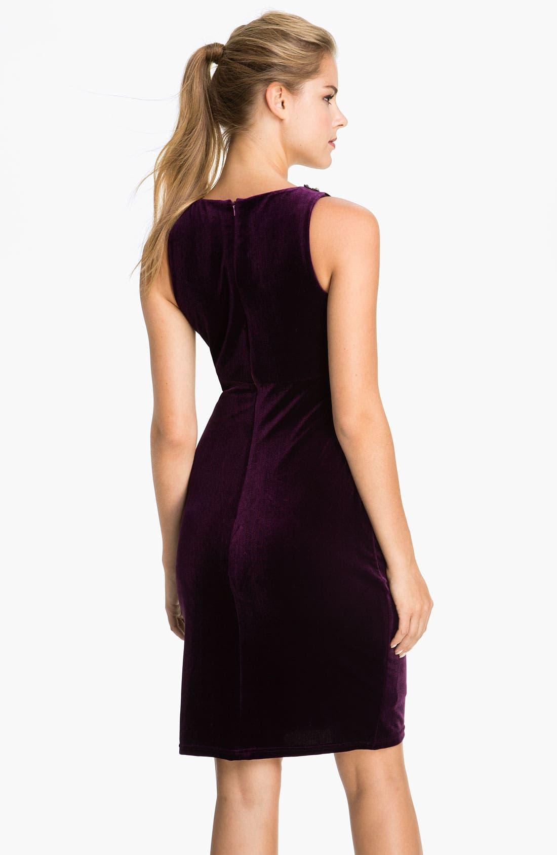 Alternate Image 2  - Eliza J Embellished Neck Velvet Sheath Dress (Petite)
