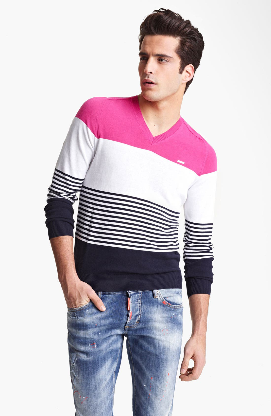 Alternate Image 1 Selected - Dsquared2 Stripe Cotton Sweater