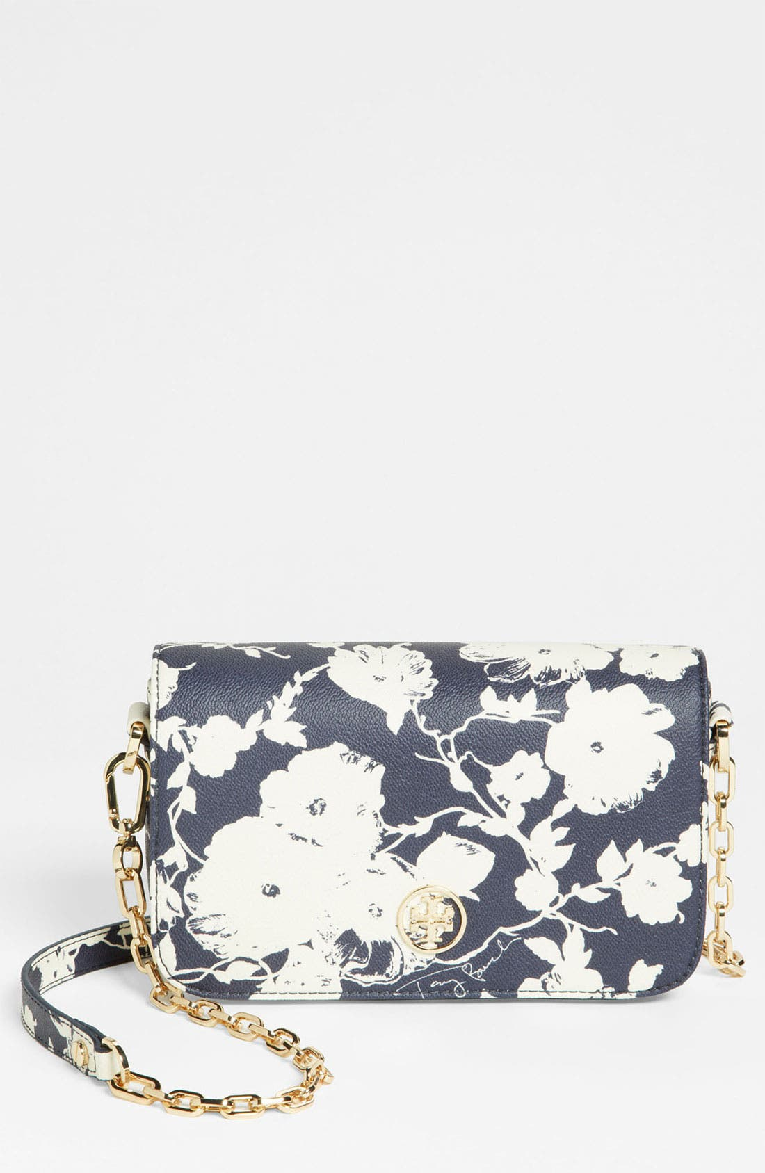 Alternate Image 1 Selected - Tory Burch 'Robinson - Mini' Print Leather Adjustable Crossbody Bag