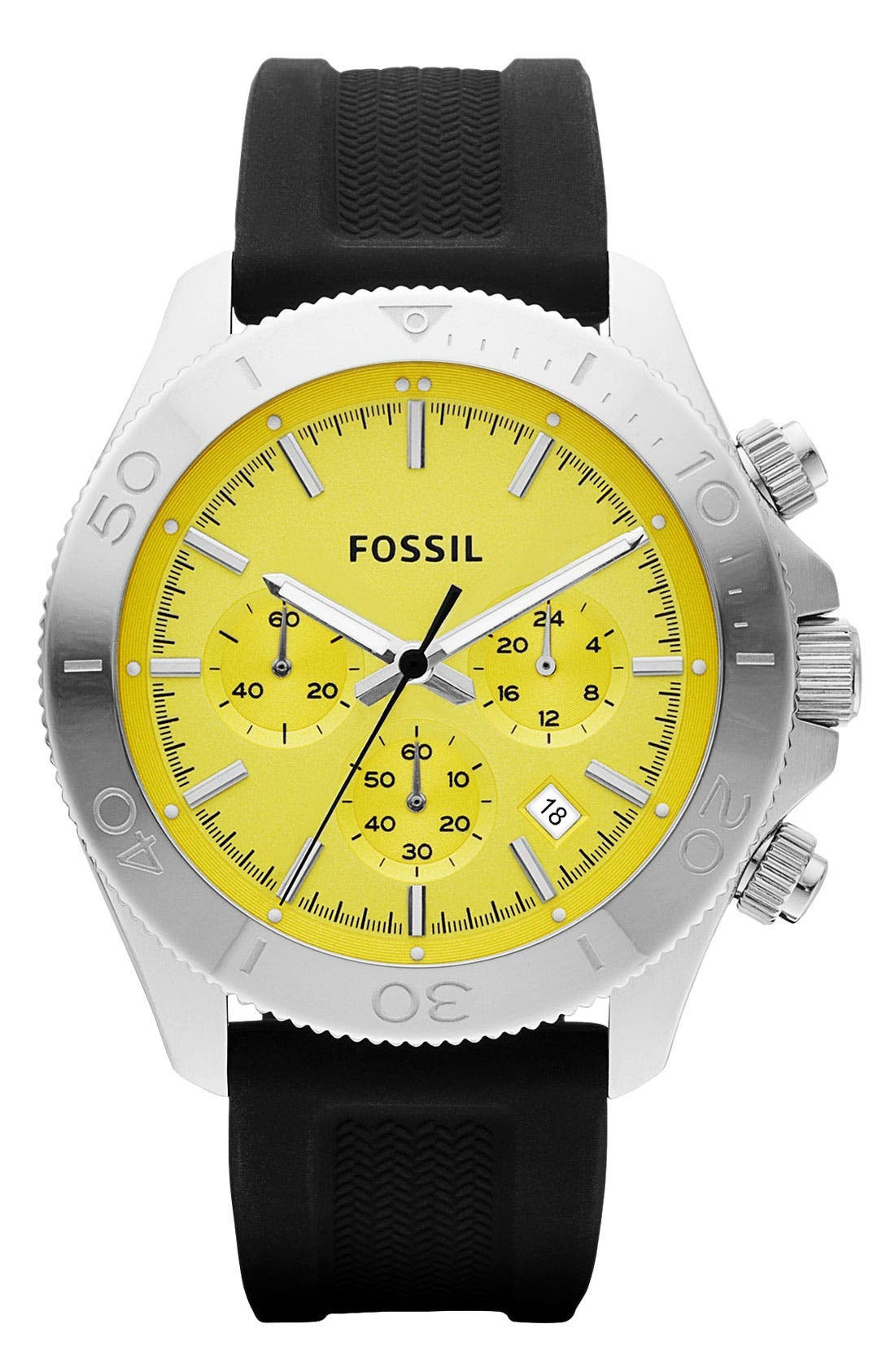 Main Image - Fossil 'Retro Traveler' Chronograph Silicone Strap Watch, 45mm