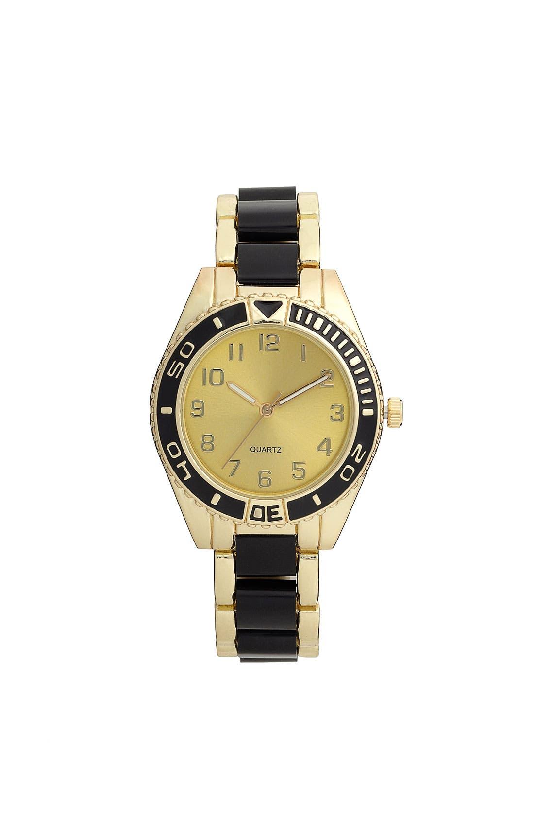 Alternate Image 1 Selected - Titanium 'Black & Gold' Oversized Watch