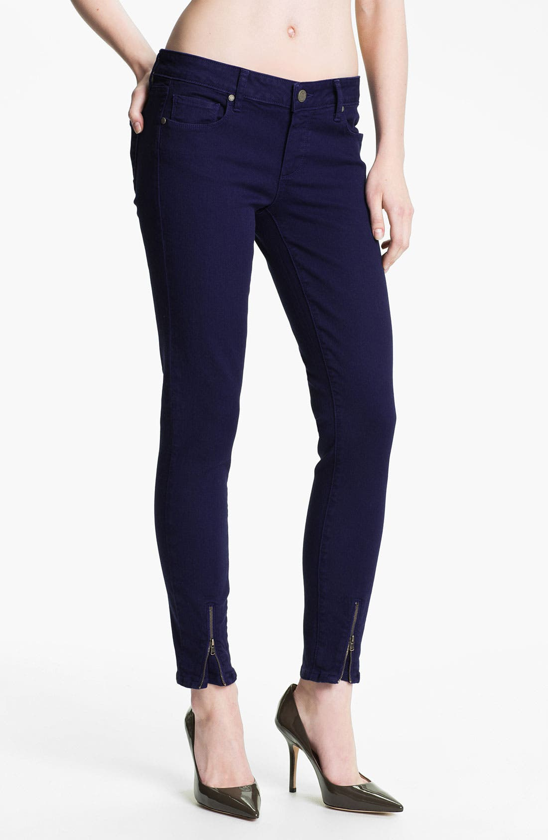 Alternate Image 1 Selected - Paige Denim Ankle Zip Skinny Jeans (Pacific Dusk)