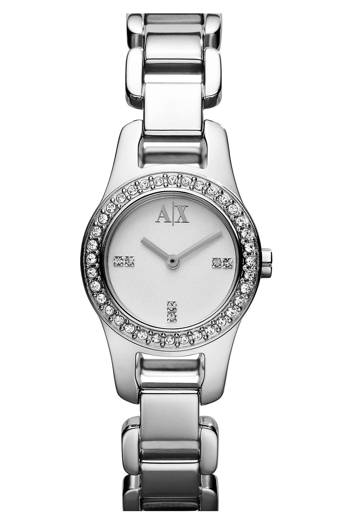 Main Image - AX Armani Exchange Crystal Bezel Bracelet Watch, 24mm (Online Only)