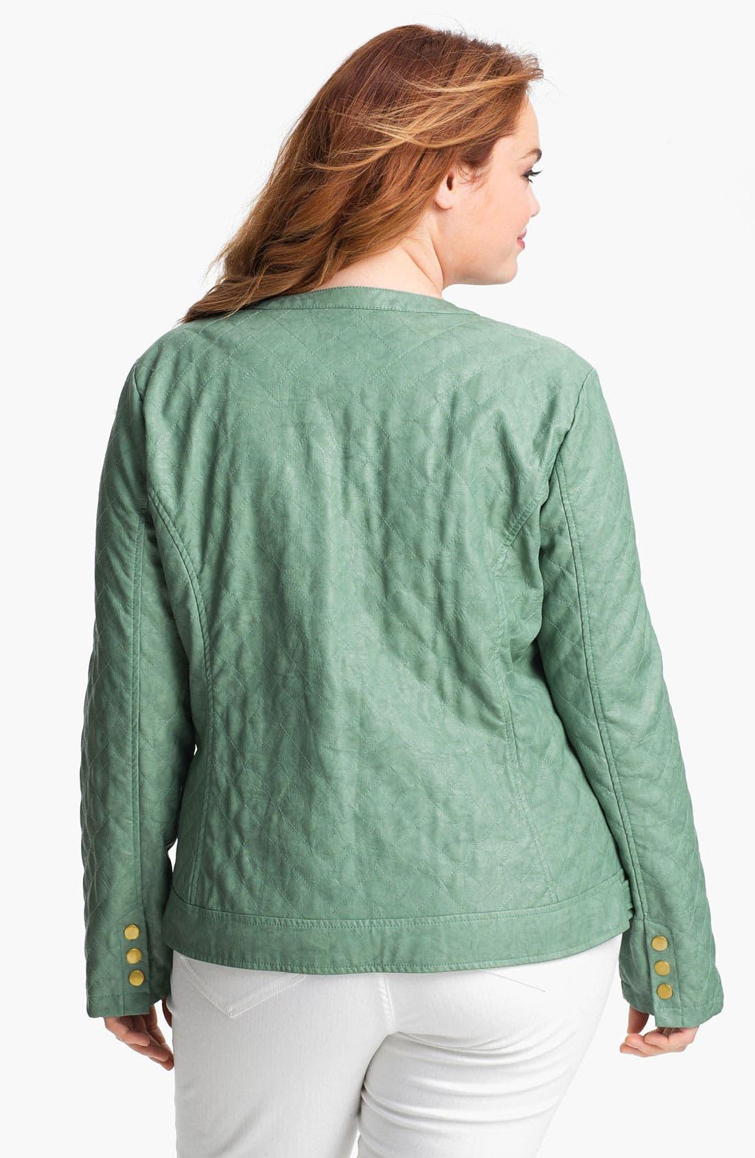 Alternate Image 2  - Jou Jou Quilted Faux Leather Jacket (Plus)
