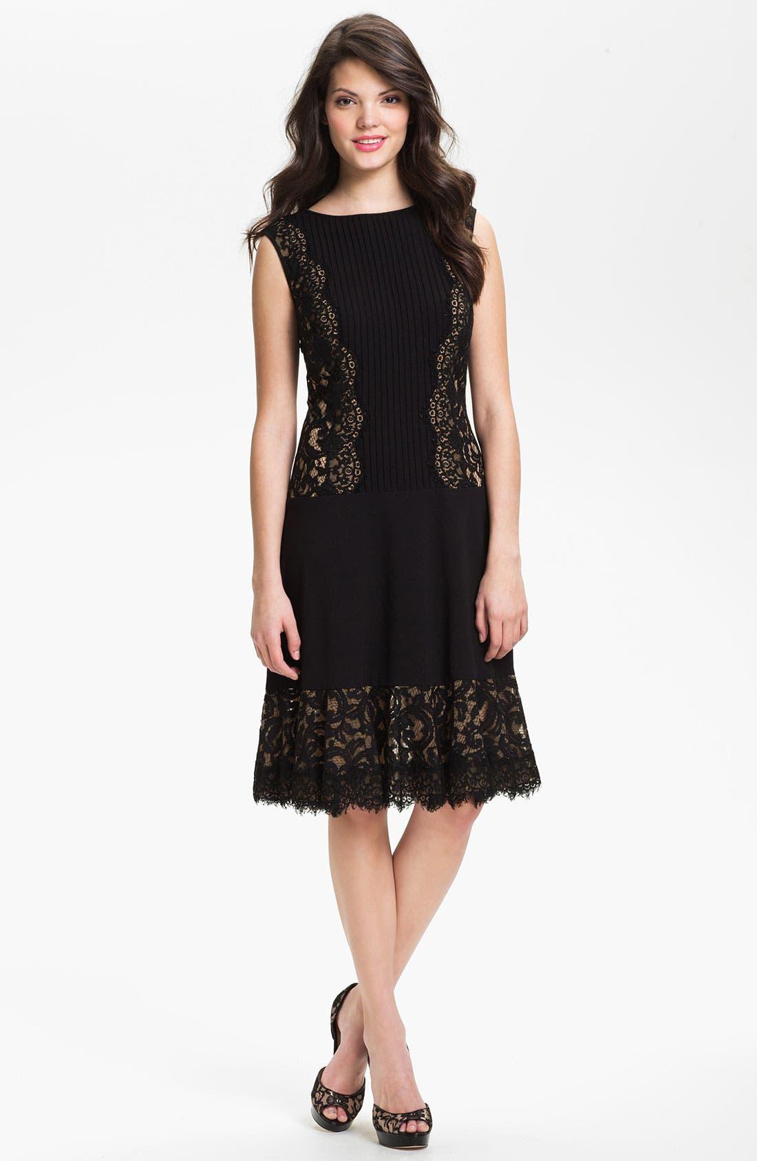 Alternate Image 1 Selected - Tadashi Shoji Lace Paneled Drop Waist Dress