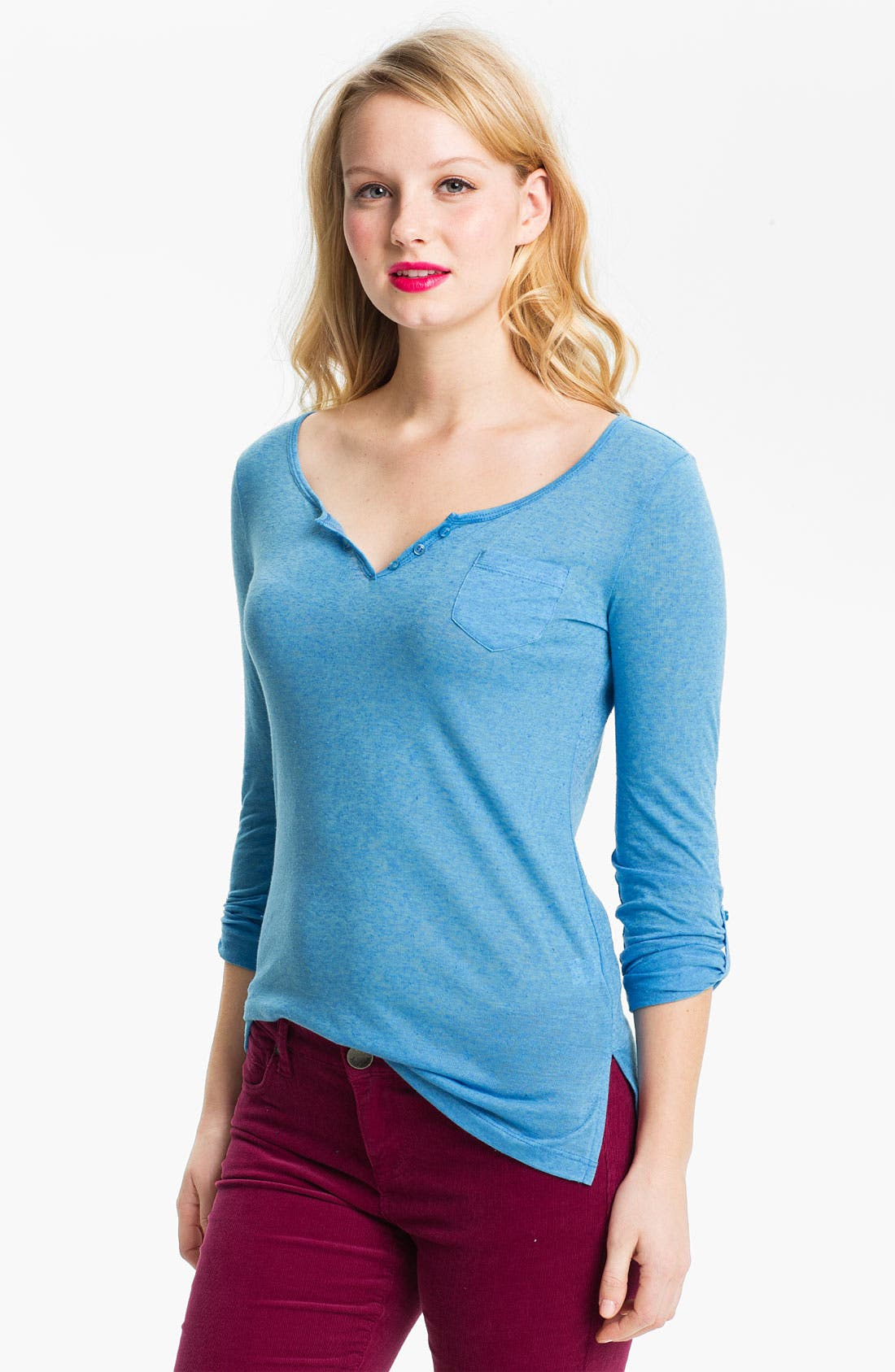 Main Image - Caslon® Roll Sleeve Henley Top (Petite)