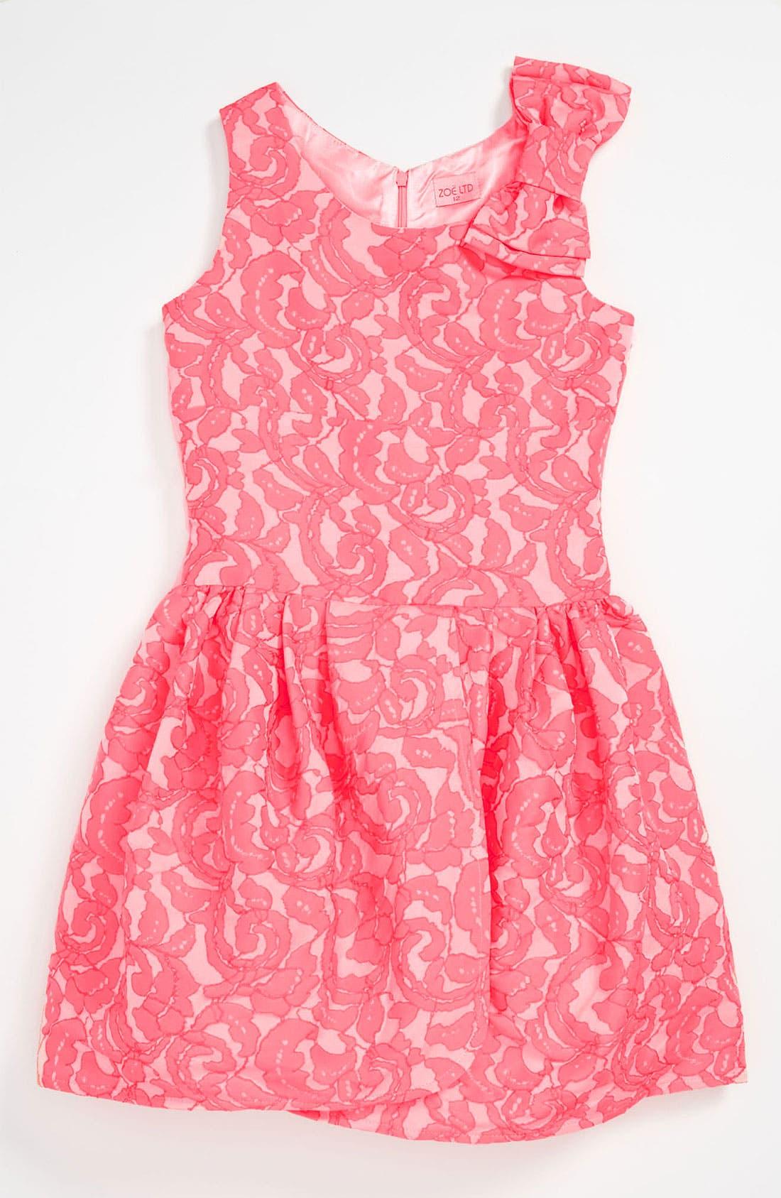 Alternate Image 1 Selected - Zoe Tulip Hem Brocade Dress (Big Girls)