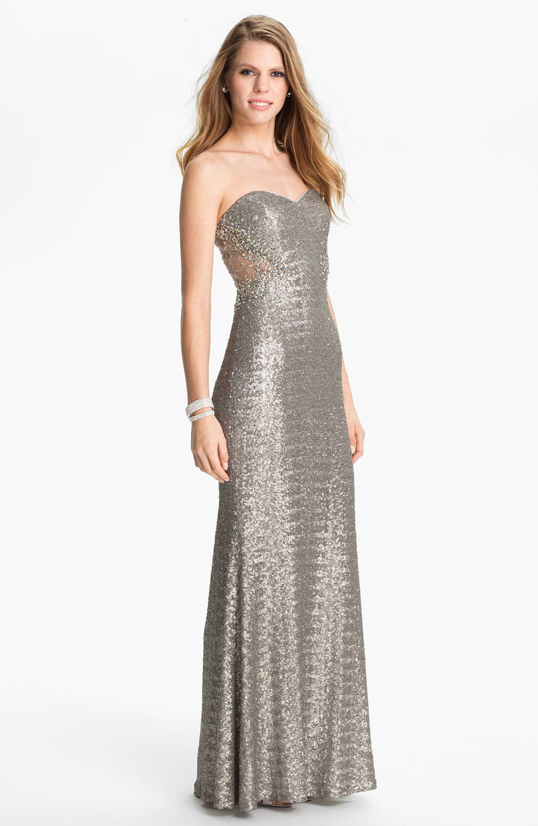 Alternate Image 1 Selected - La Femme Metallic Sweetheart Gown