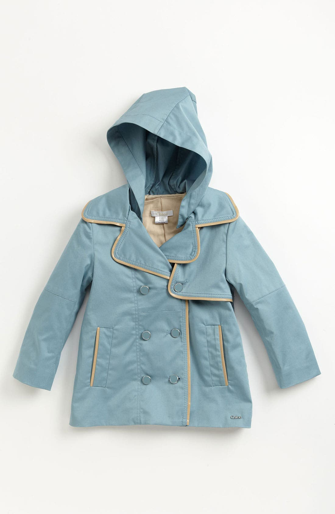 Main Image - Chloé Satin Peacoat (Little Girls & Big Girls)