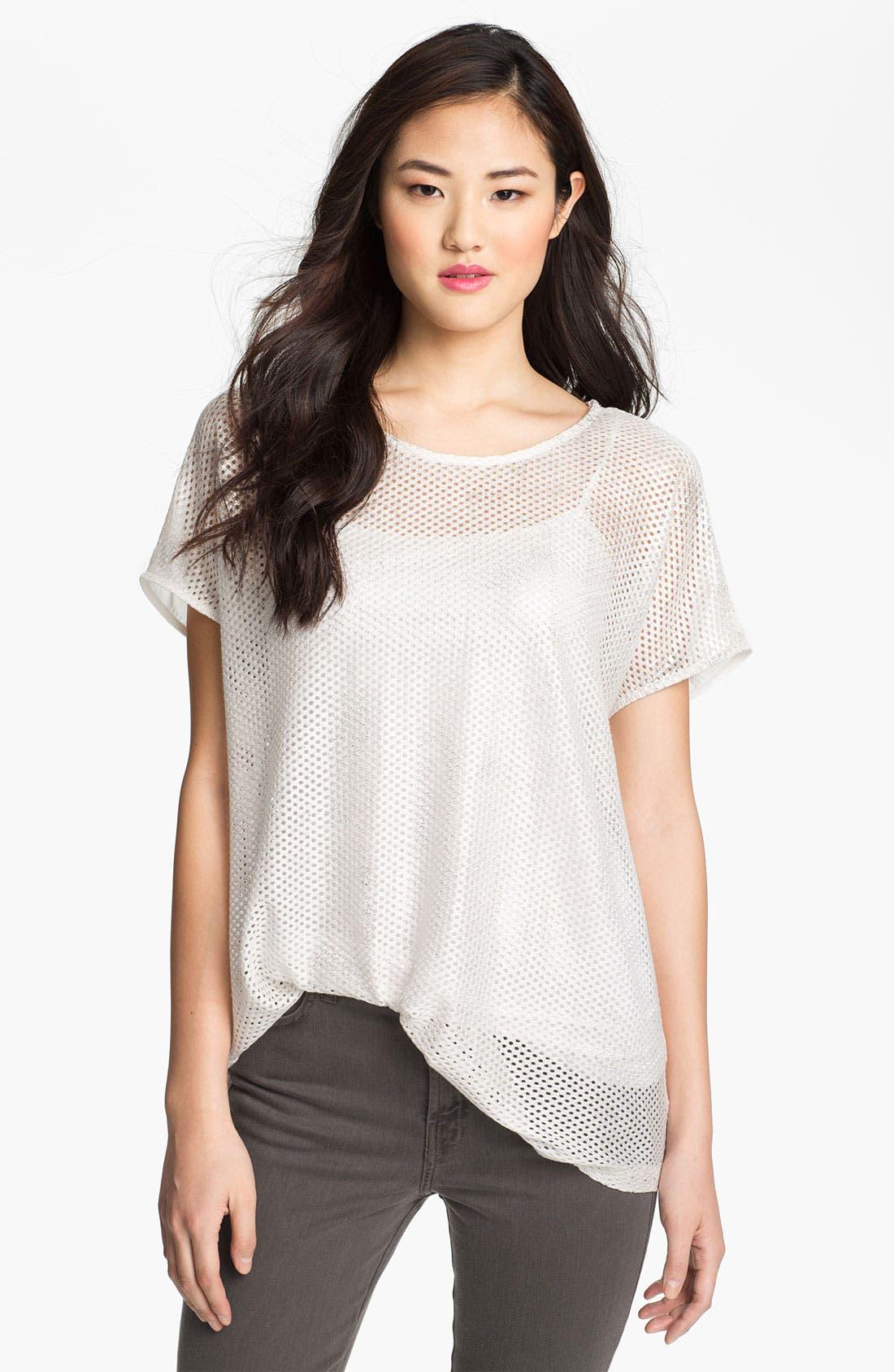 Alternate Image 1 Selected - Pleione Perforated Shirttail Hem Top
