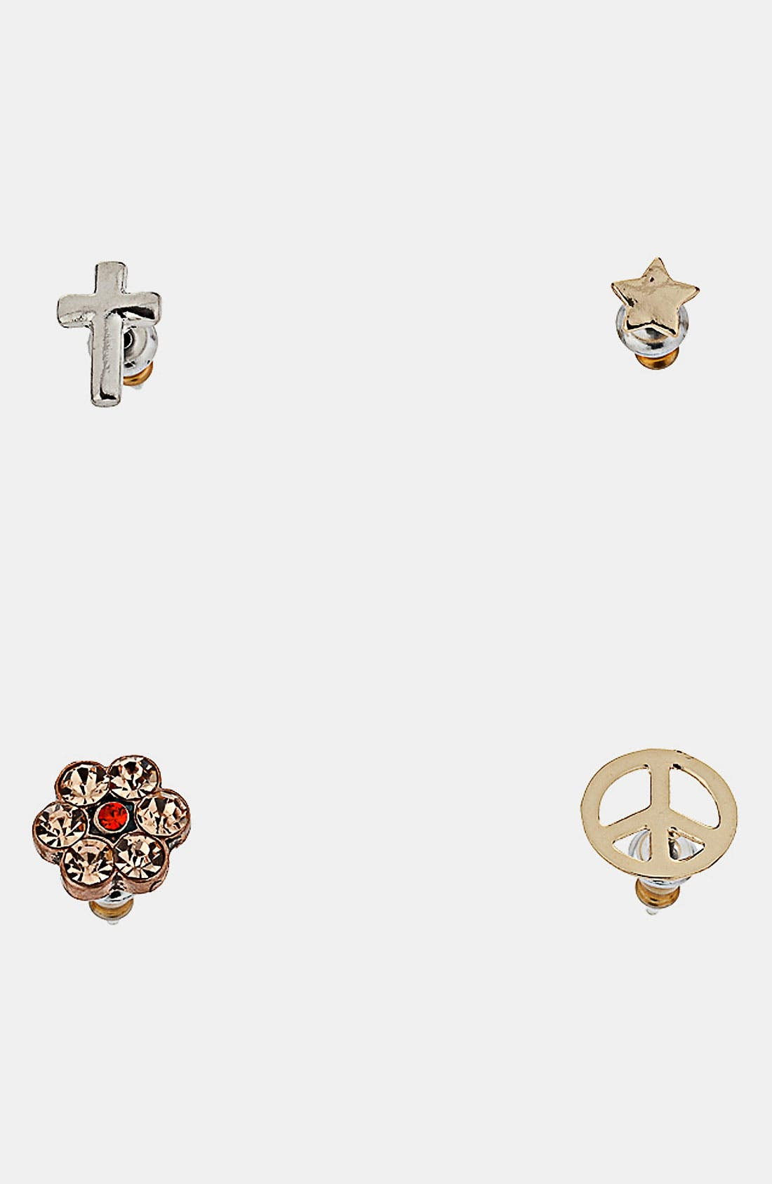Main Image - Topshop 'Peace Cross' Assorted Earrings