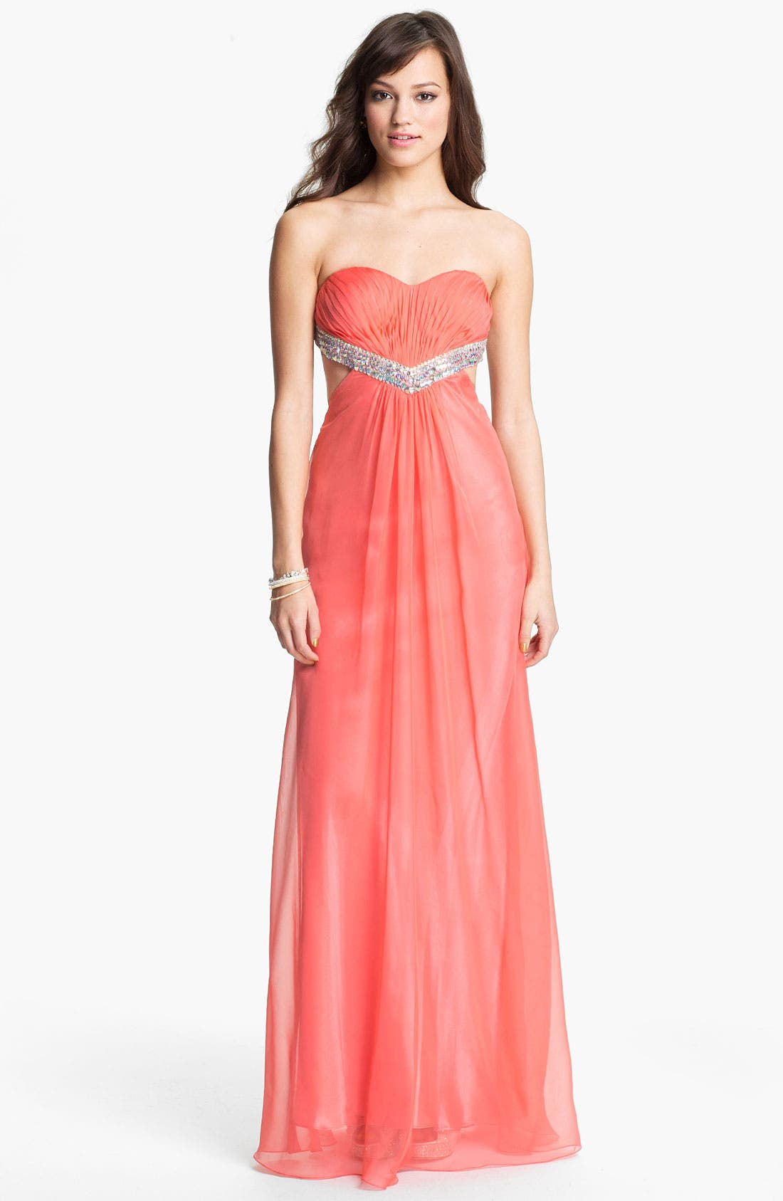 Alternate Image 1 Selected - La Femme Embellished Sweetheart Chiffon Gown