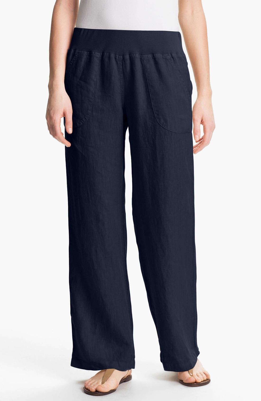 Main Image - Nicki & Bell Rib Waist Linen Pants