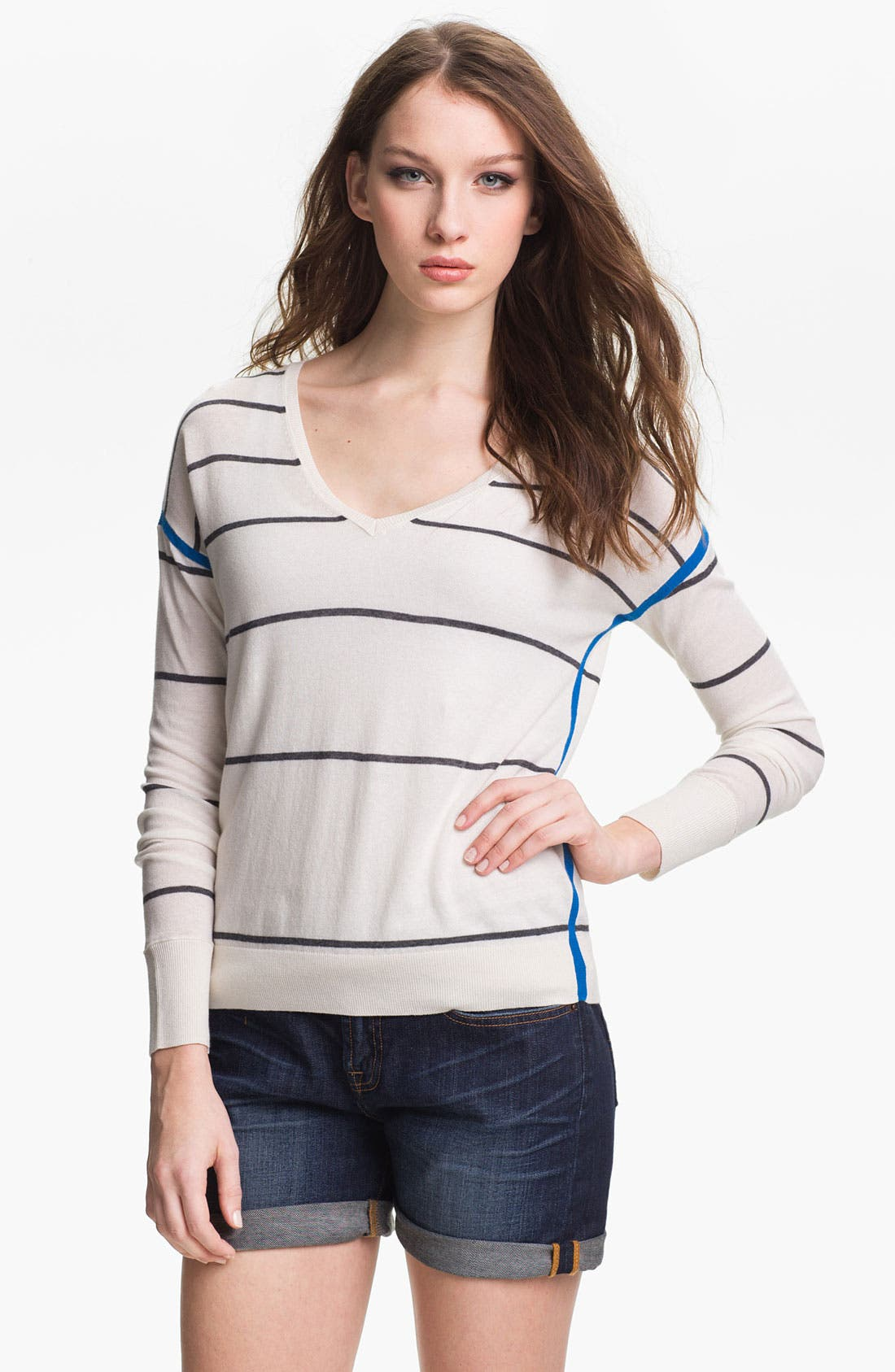 Alternate Image 1 Selected - Caslon® Stripe V-Neck Sweater