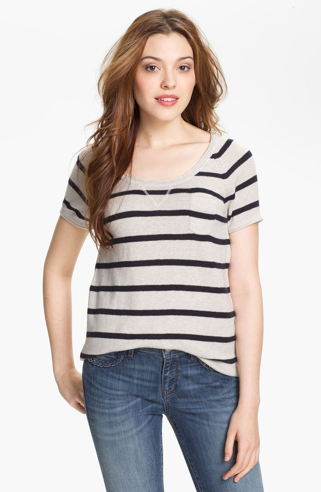 Alternate Image 1 Selected - Press Scoop Neck Stripe Sweater