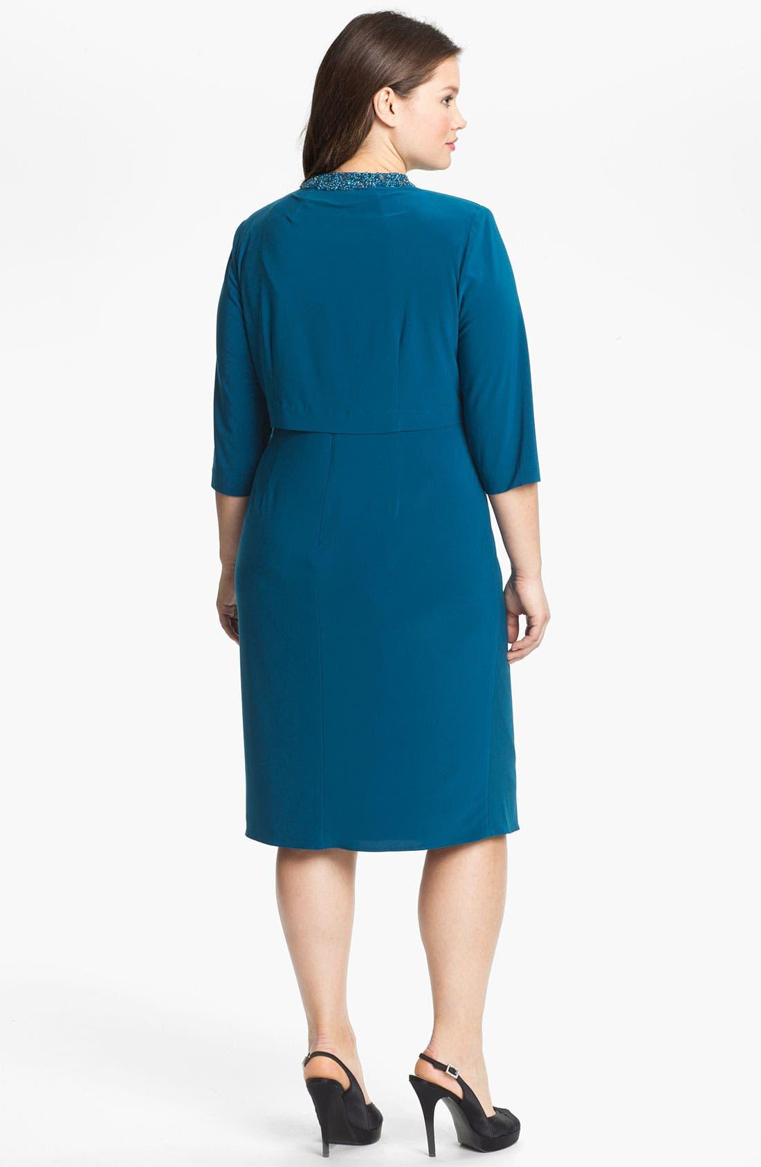 Alternate Image 2  - Alex Evenings Embellished Jersey Dress & Bolero (Plus Size)