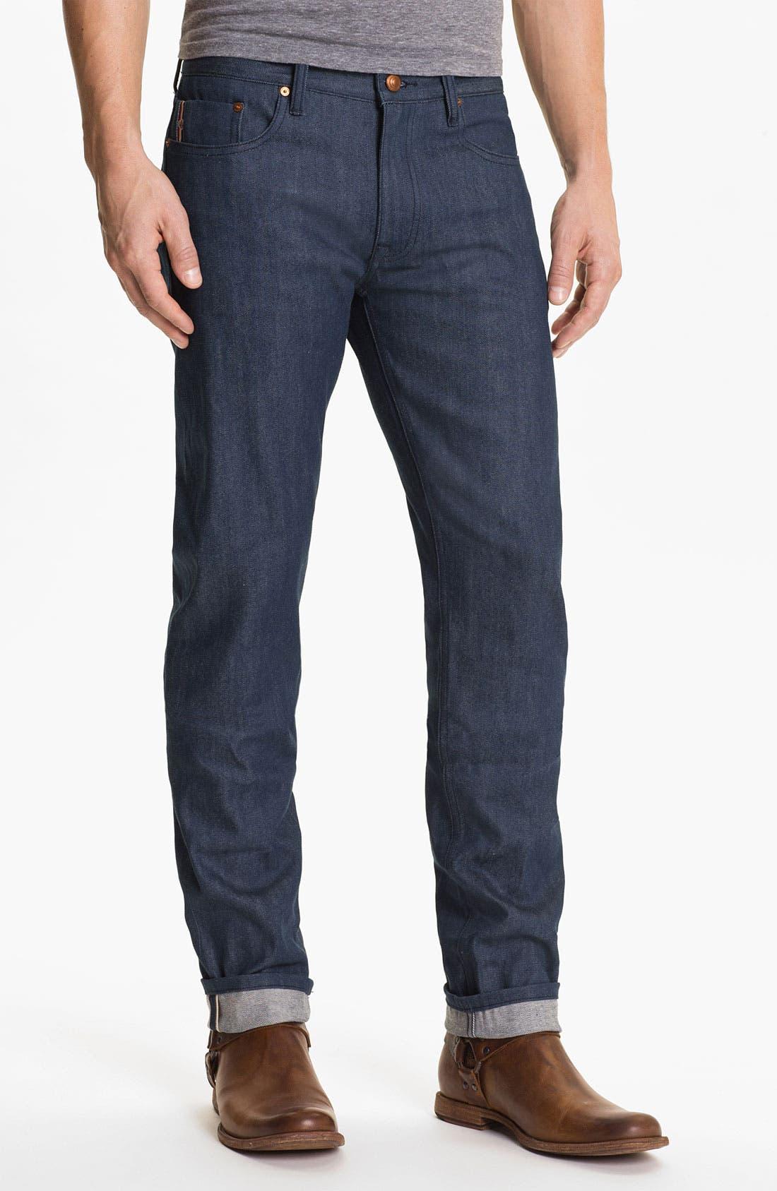Alternate Image 2  - Denim & Leathers by Andrew Marc 'Ocean' Slim Straight Leg Raw Selvedge Jeans (Indigo)