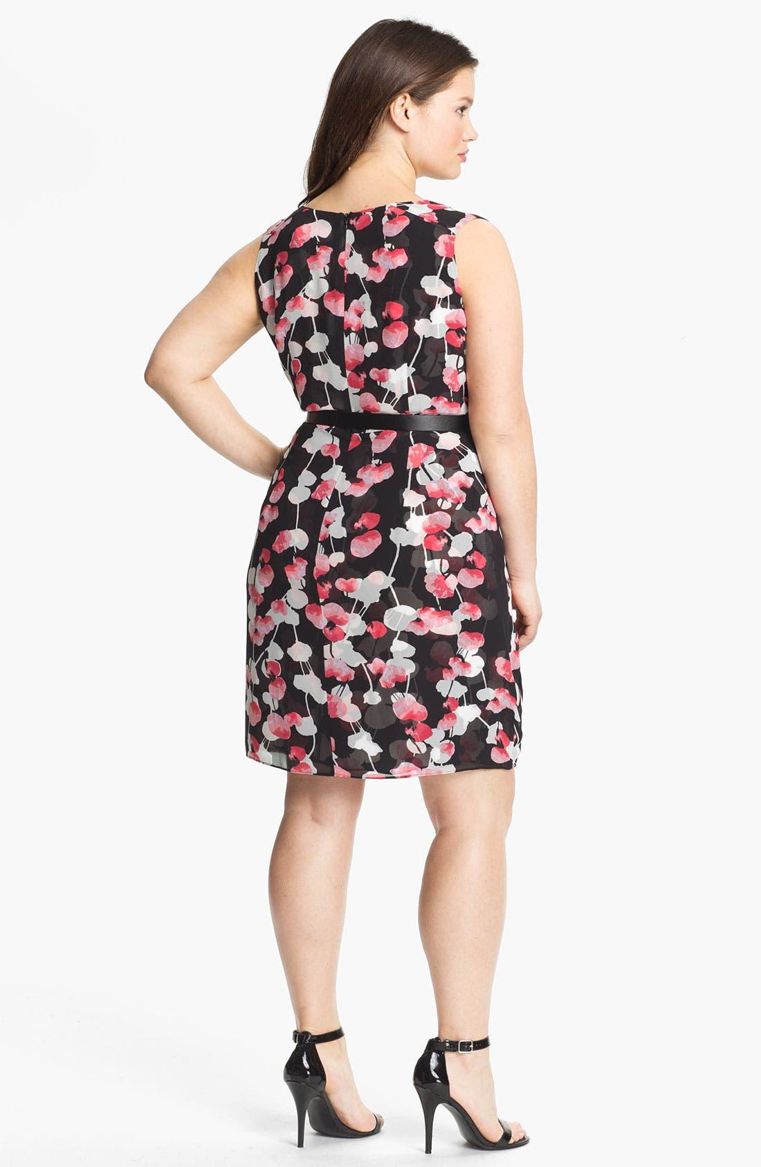 Alternate Image 2  - DKNYC Print Faux Wrap Chiffon Dress (Plus)