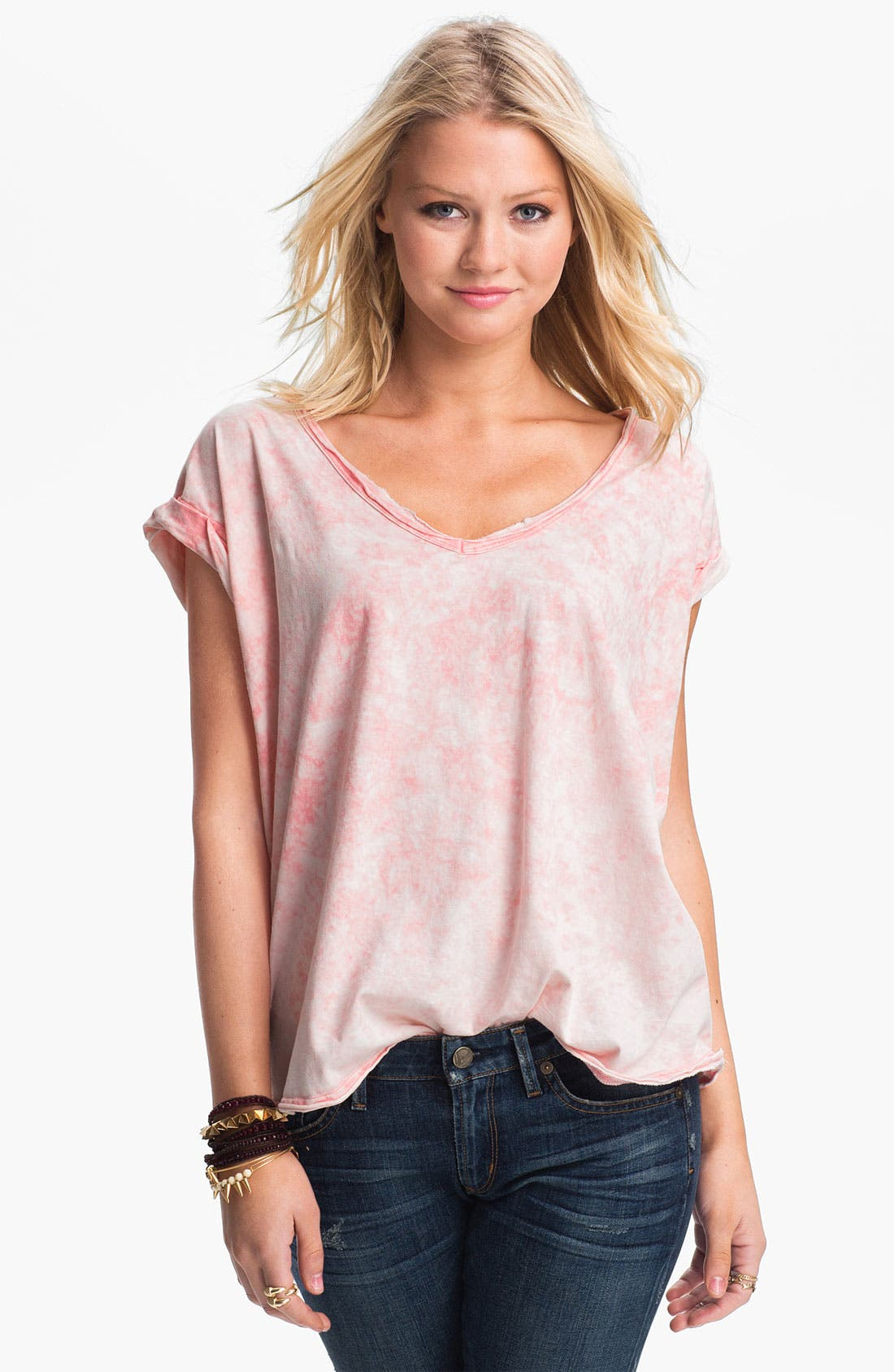 Main Image - Free People 'Keep Me' Oversize Acid Wash Tee