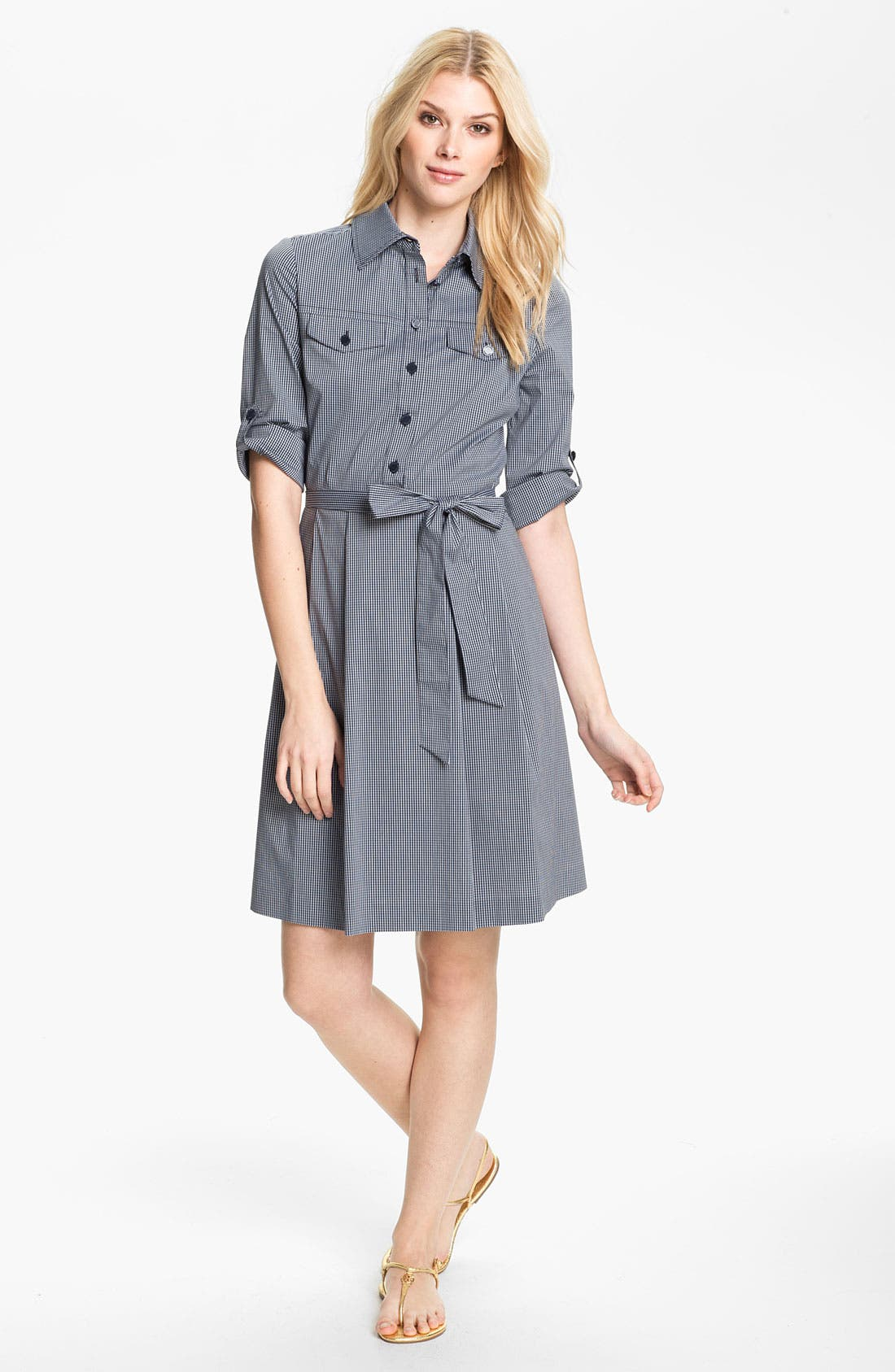 Main Image - Tory Burch 'Blythe' Stretch Poplin Shirtdress