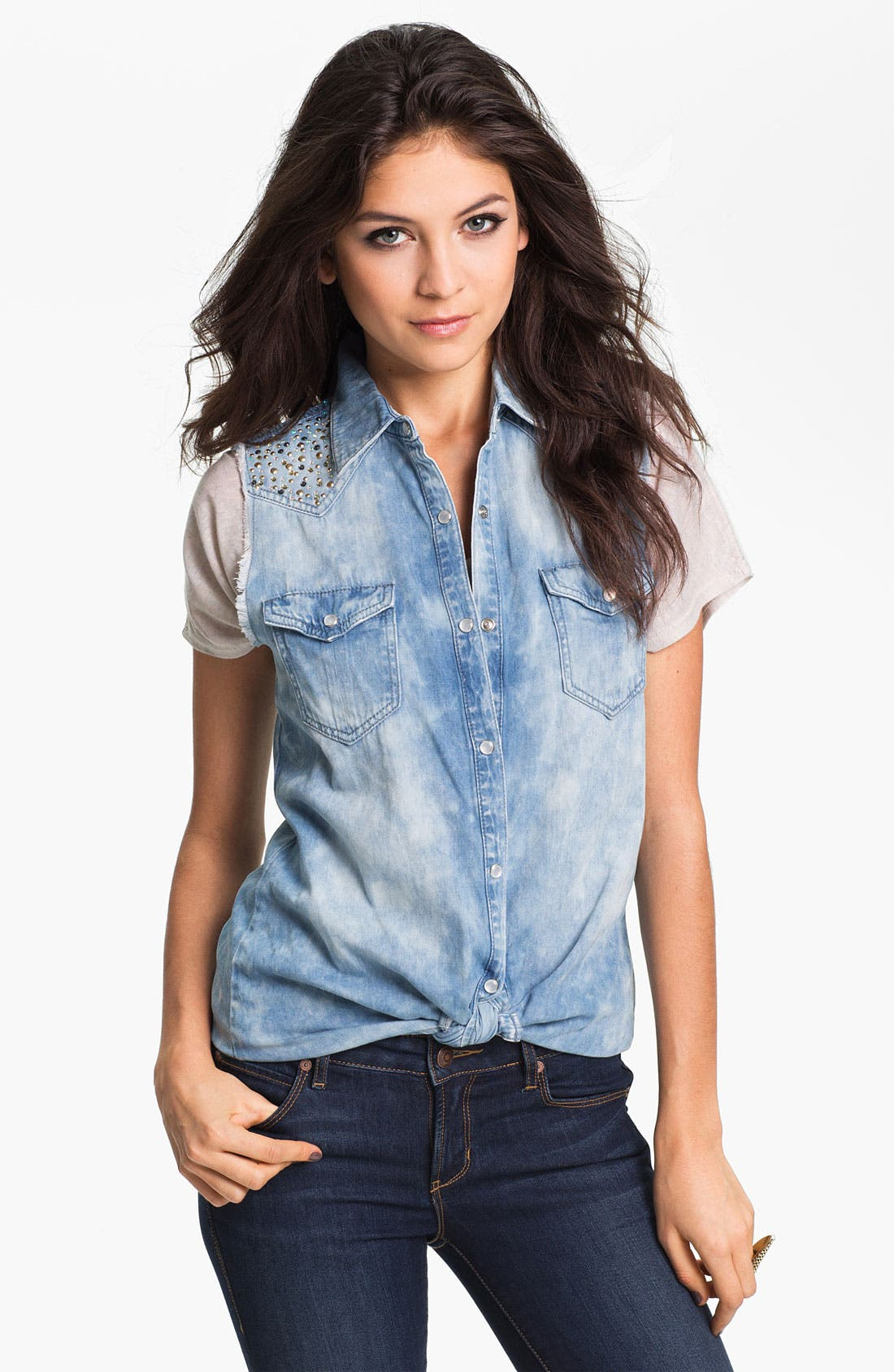 Main Image - Jolt Embellished Cutoff Chambray Shirt (Juniors)