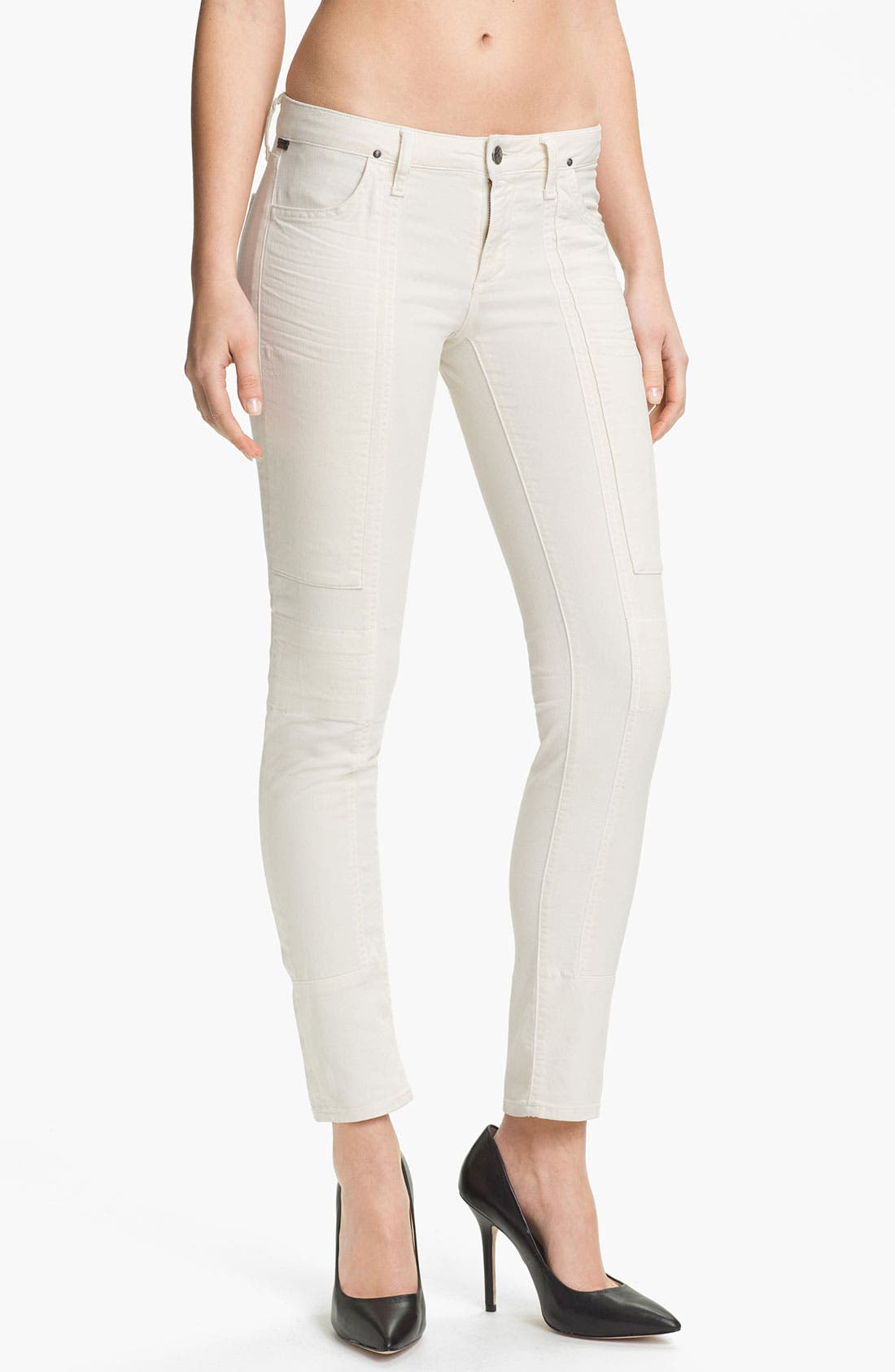 Alternate Image 1 Selected - Citizens of Humanity 'Logan' Moto Skinny Jeans (Ivory)