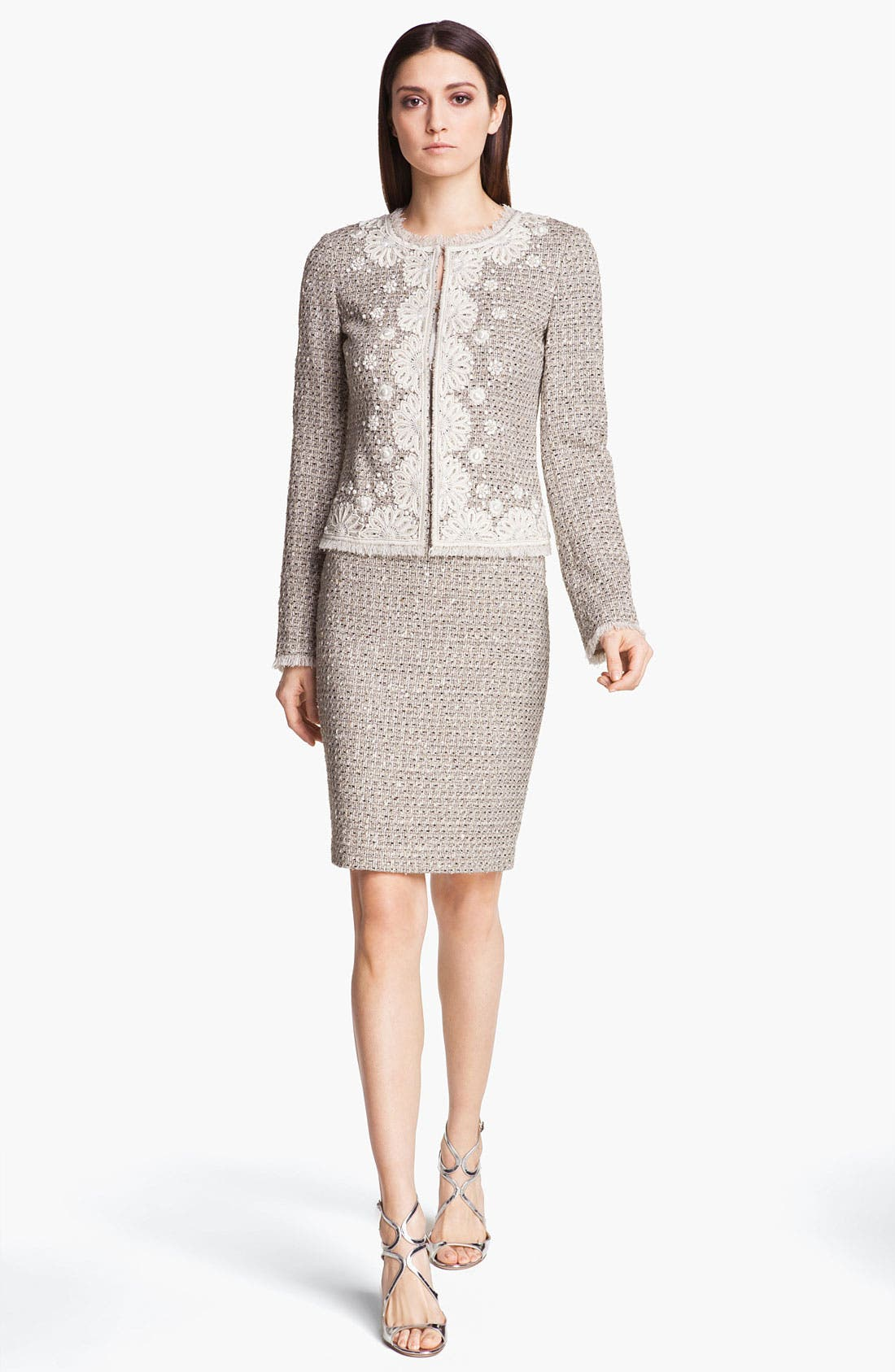 Alternate Image 2  - St. John Collection Speckled Tweed Pencil Skirt