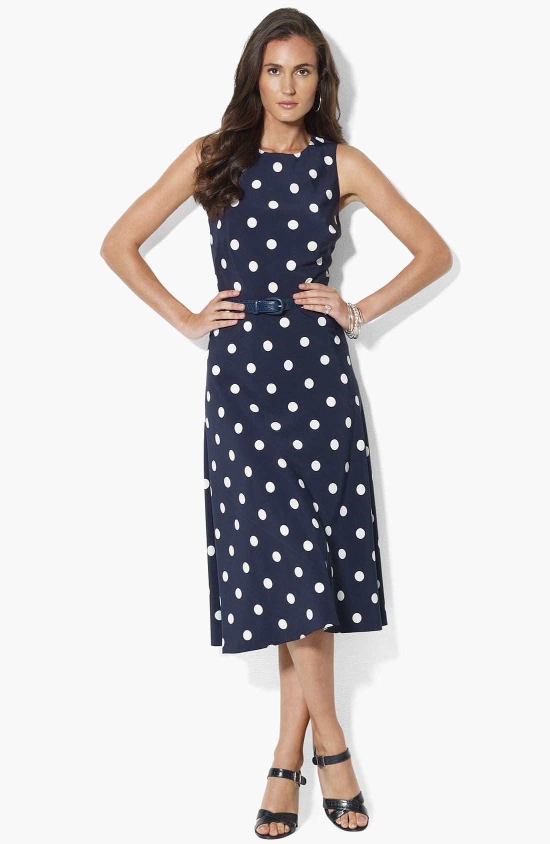 Main Image - Lauren Ralph Lauren Polka Dot Fit & Flare Dress