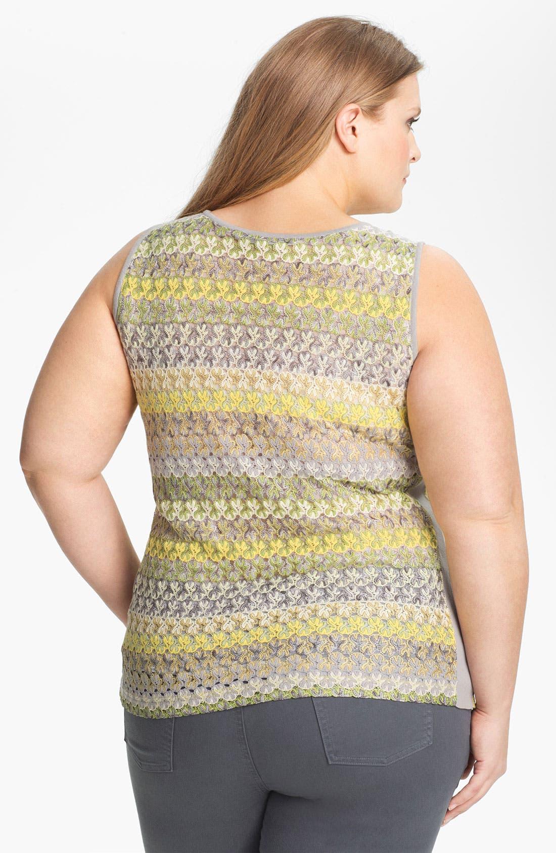 Alternate Image 2  - Nic + Zoe Stripe Lace Tank (Plus Size)